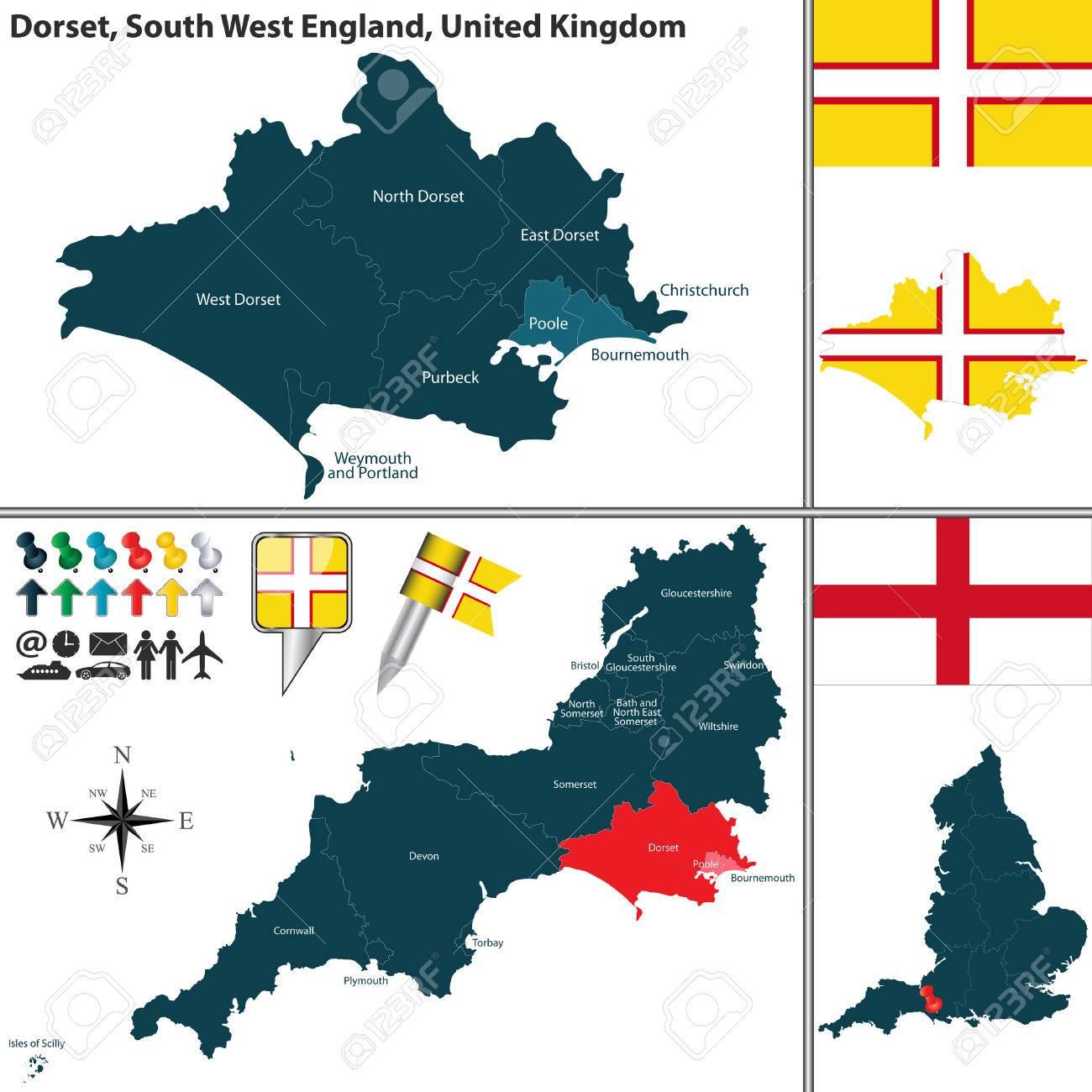 Kaart Van Dorset In Zuid West Engeland Groot Brittannie Met De