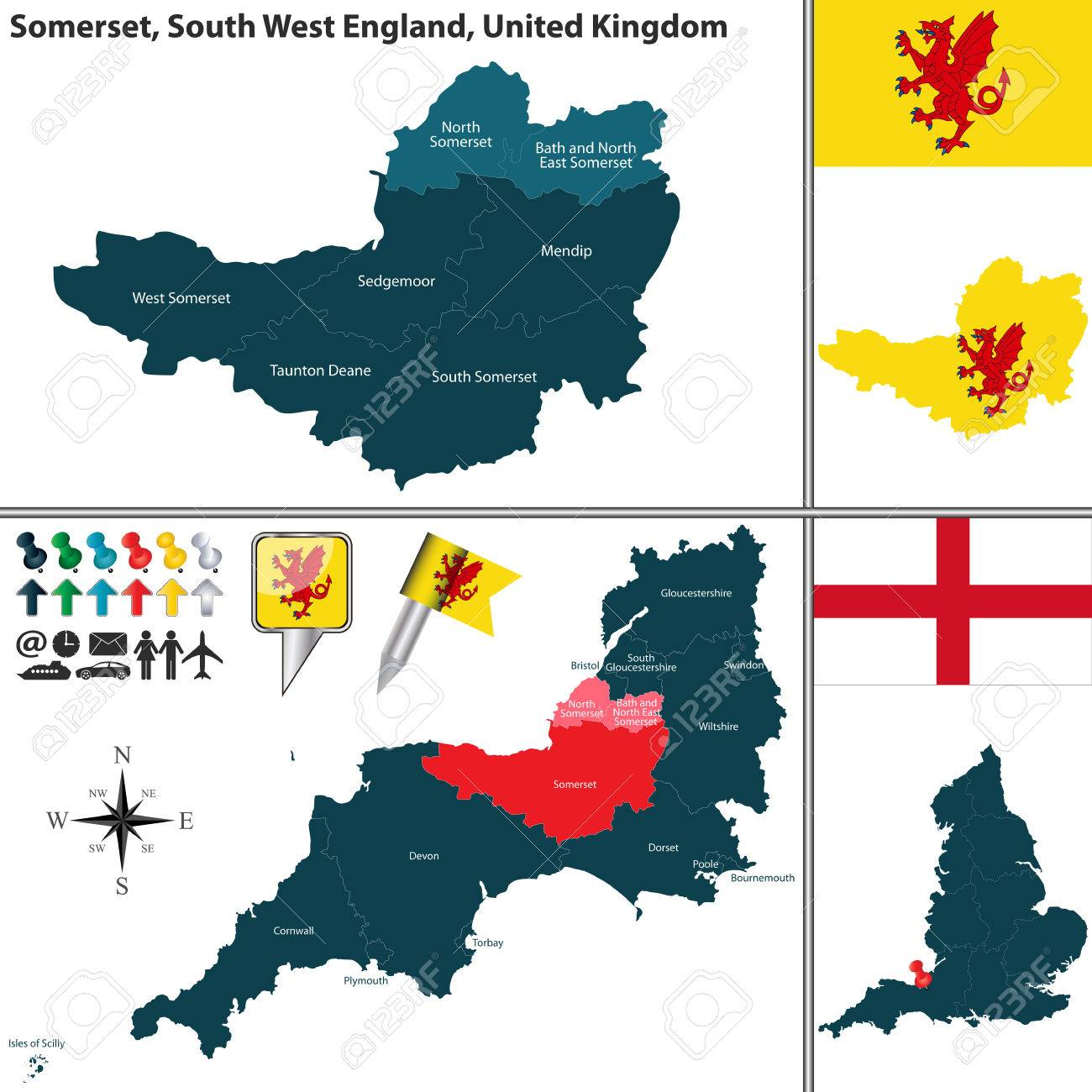 Map Of Somerset In South West England United Kingdom With Regions