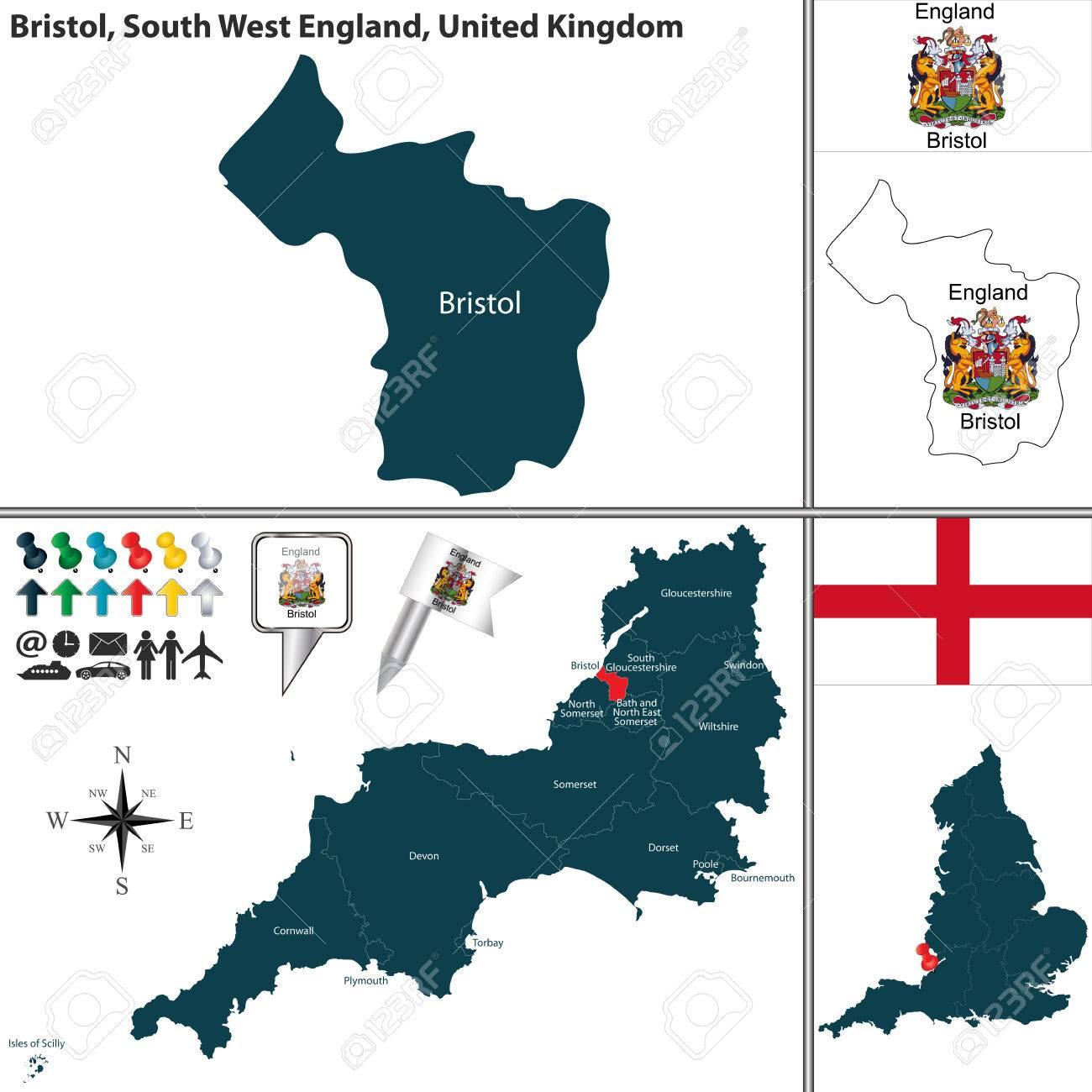 Carte Angleterre Region.Carte De Bristol En Angleterre Sud Ouest Royaume Uni Avec Les Regions Et Drapeaux