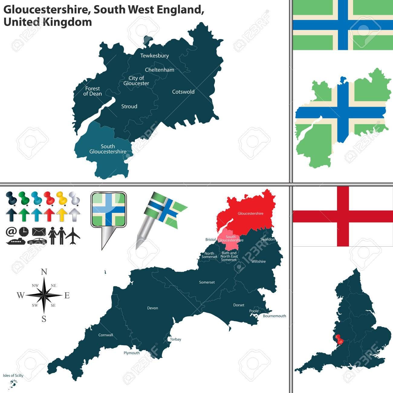 Map Of England Gloucestershire.Map Of Gloucestershire In South West England United Kingdom