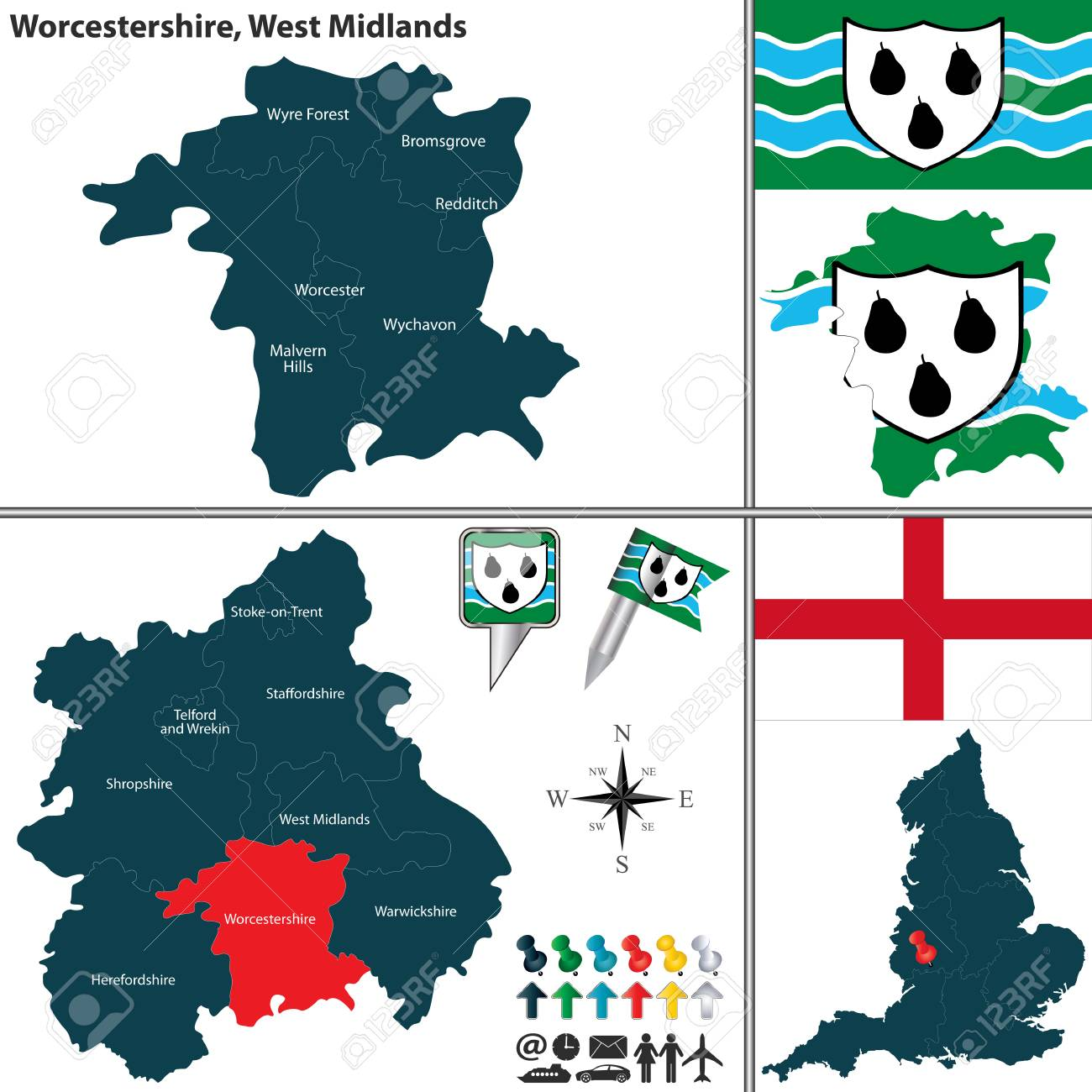 Vector Map Of Worcestershire In West Midlands United Kingdom