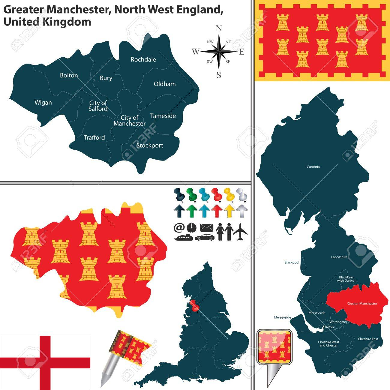 Map Of England Manchester.Vector Map Of Greater Manchester In North West England United