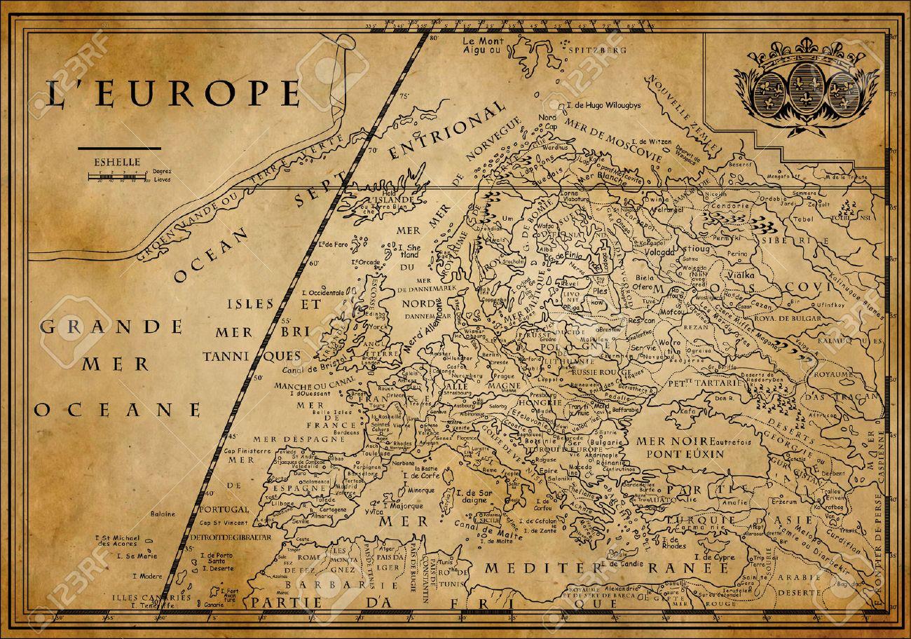 Carte Europe Avec Meridiens.Vieille Carte De L Europe Avec Le Systeme De Coordonnees Sur Le Vieux Papier Xviiieme Siecle