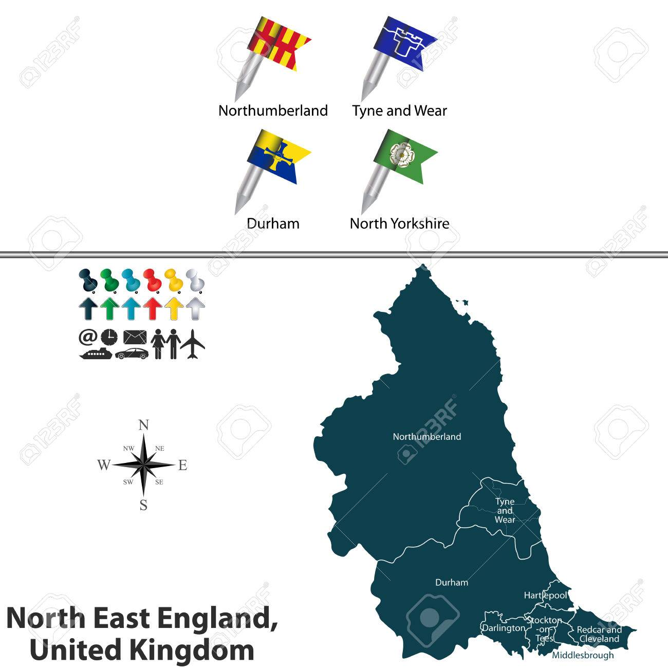 North Of England Map.Vector Map Of North East England United Kingdom With Regions