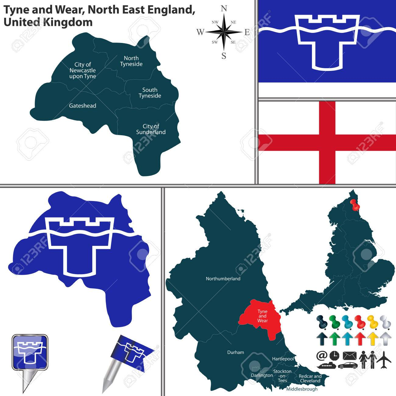 Map Of Uk North East.Vector Map Of Tyne And Wear In North East England United Kingdom