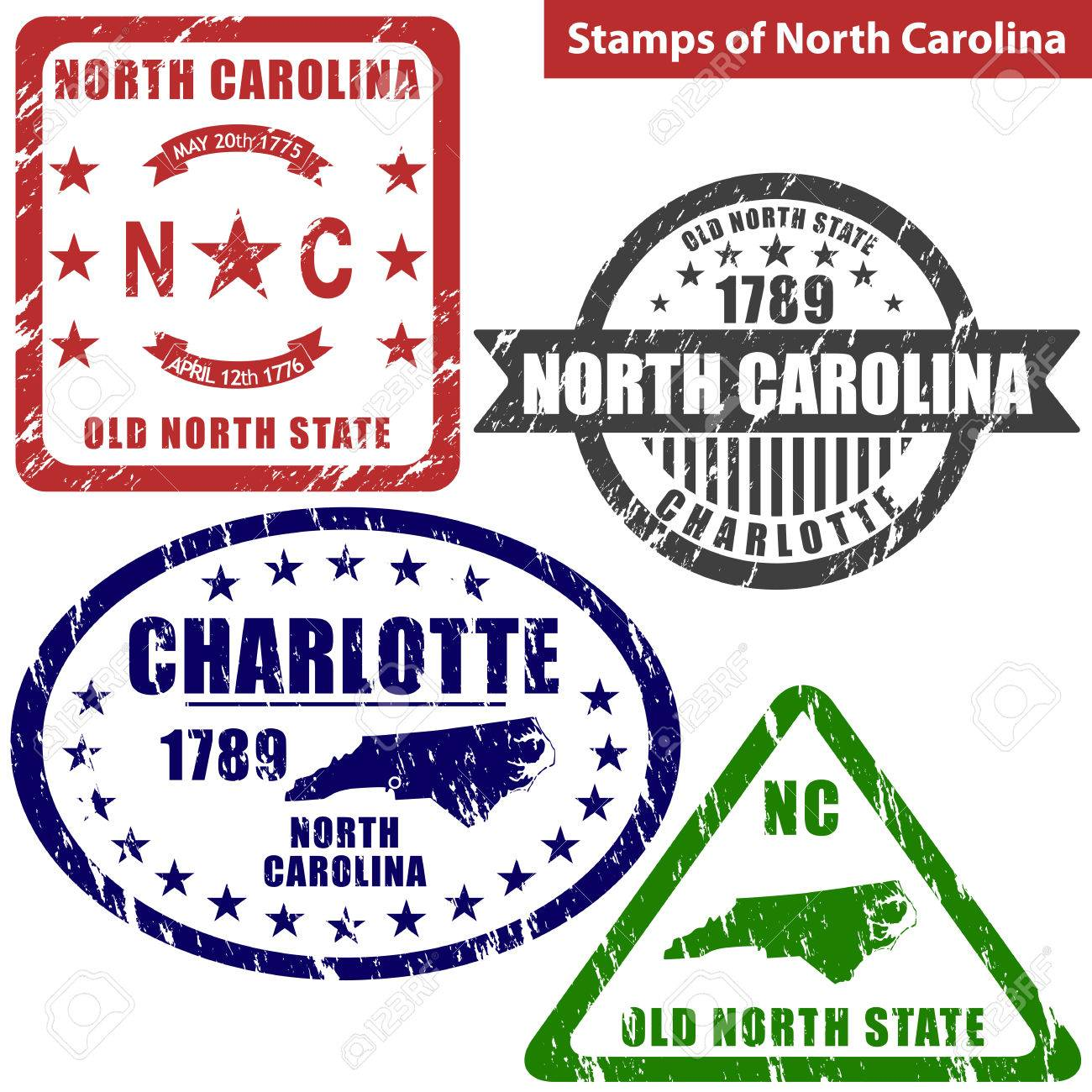 North States Map.Vector Stamps Of North Carolina State In United States With Map