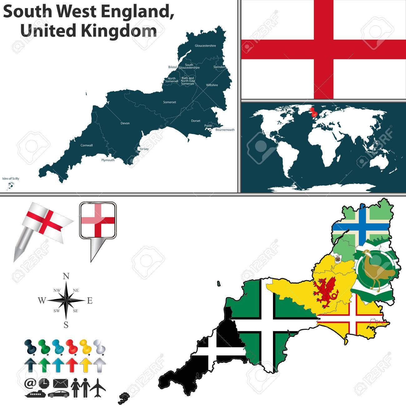 Vector Kaart Van Zuidwest Engeland Groot Brittannie Met De
