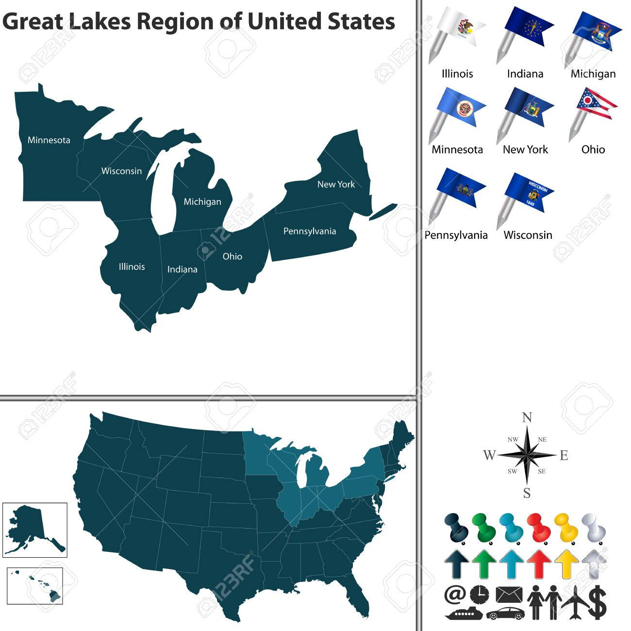 Vector Set Of Great Lakes Region Of United States With Flags ...