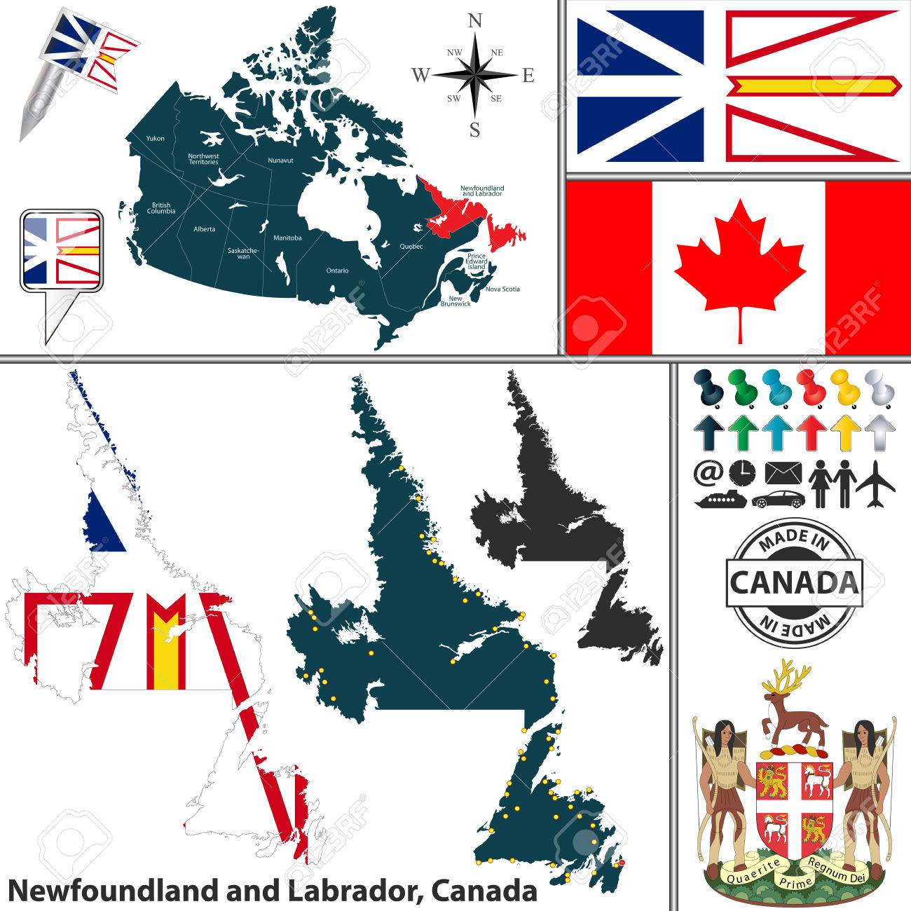 Vector Map Of State Newfoundland And Labrador With Coat Of Arms ...