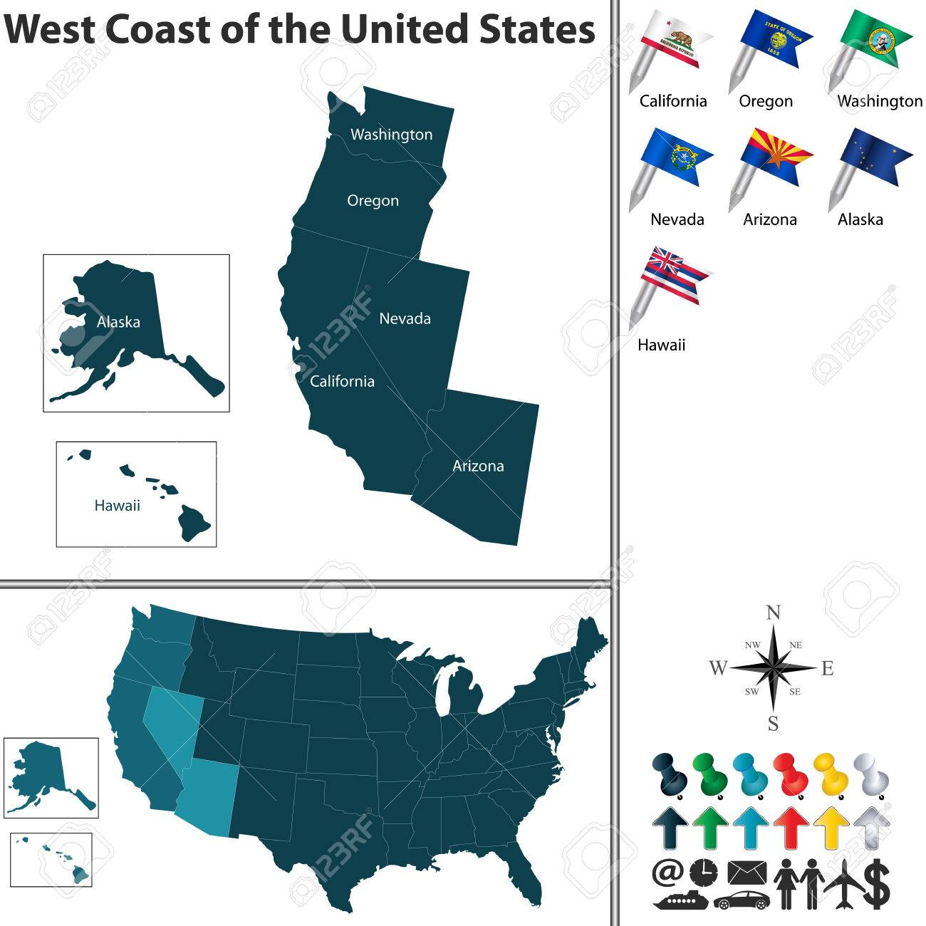 Vector set of the West Coast of United States with flags and..