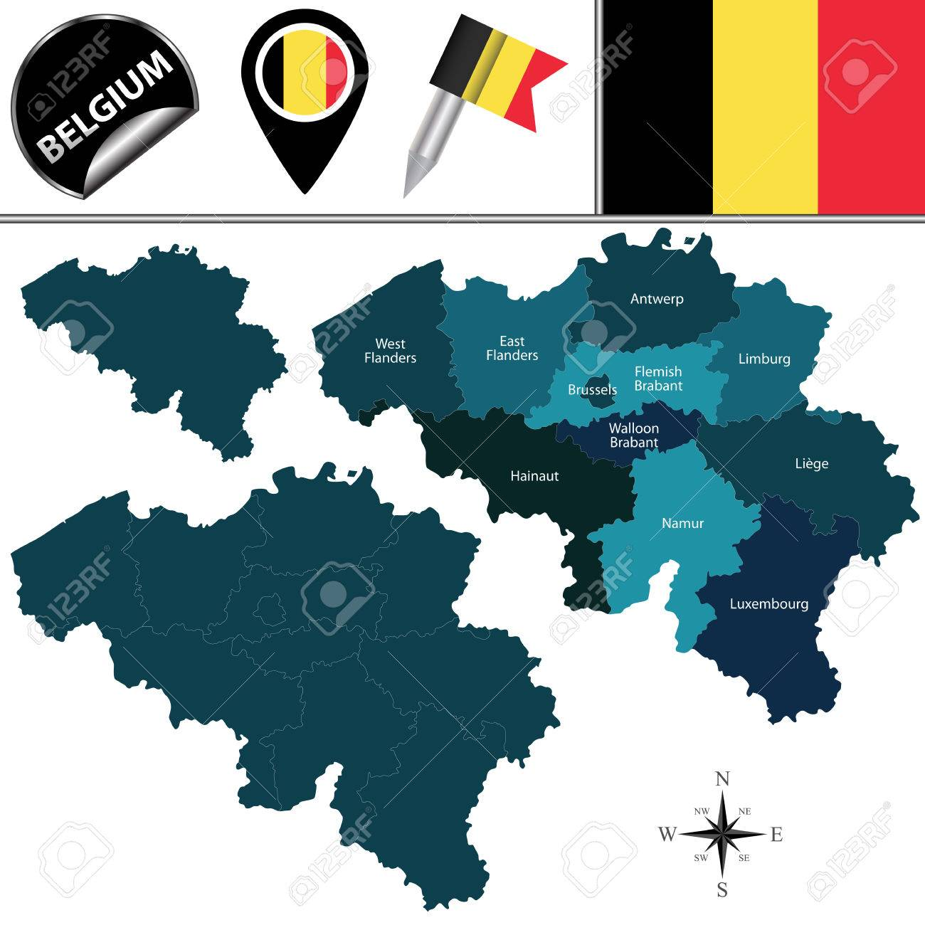 Map Of Belgium With Named Provinces And Travel Icons Royalty Free