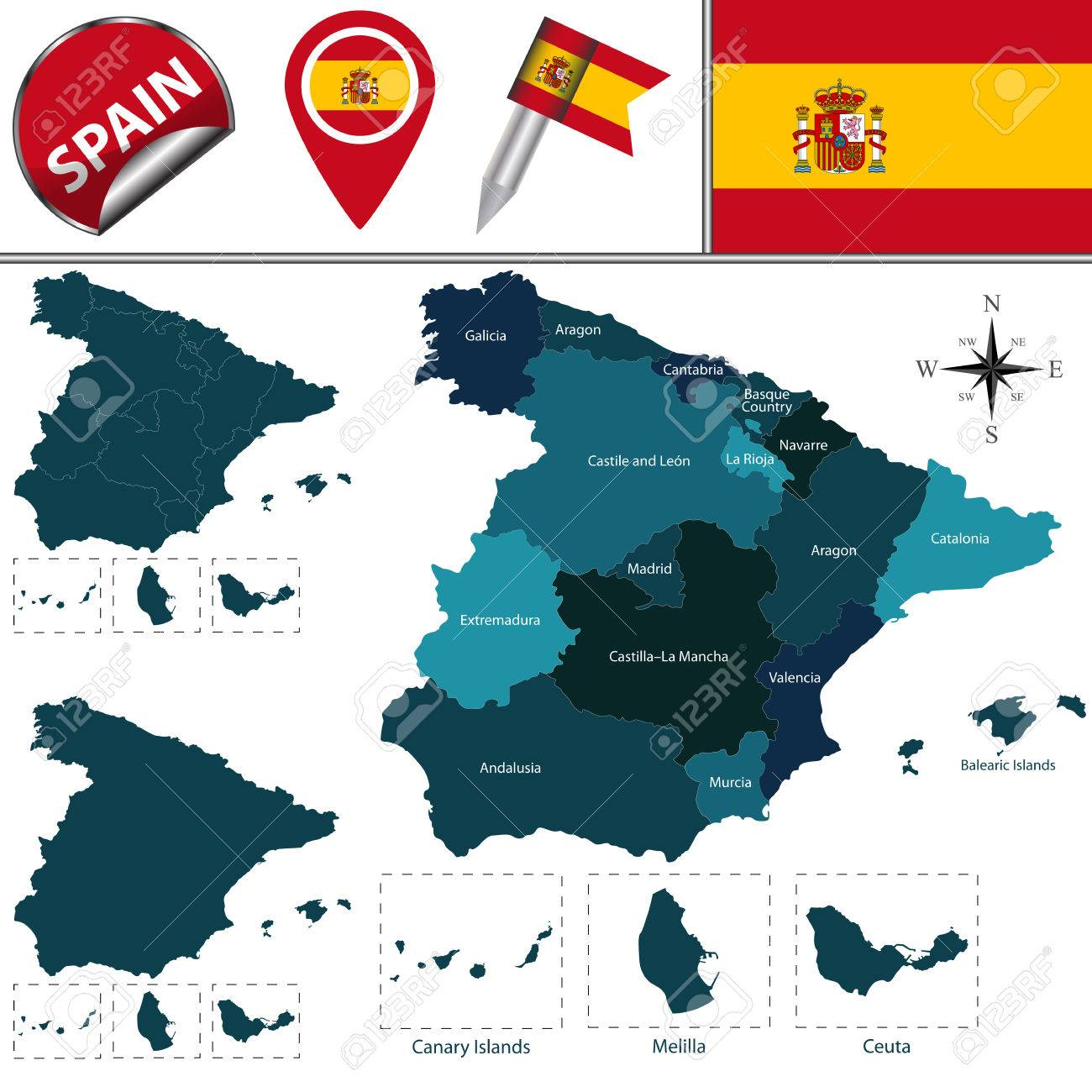 Vector Map Of Spain With Named Communities And Travel Icons Royalty