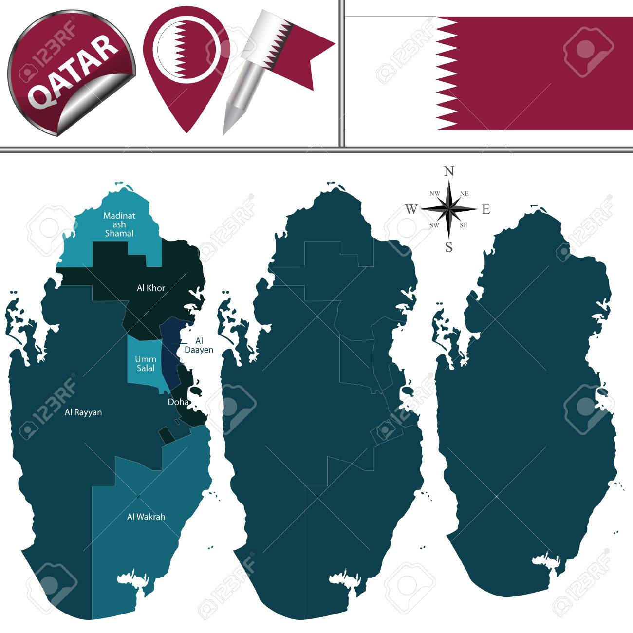 Vector Map Of Qatar With Named Municipalities And Travel Icons
