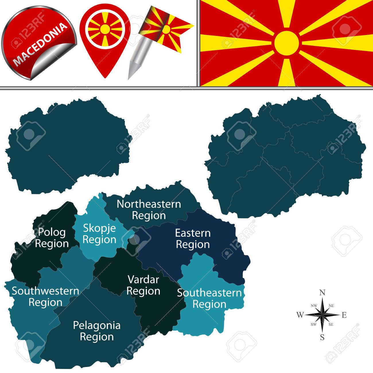Map Of Macedonia With Named Statistical Regions And Travel Icons