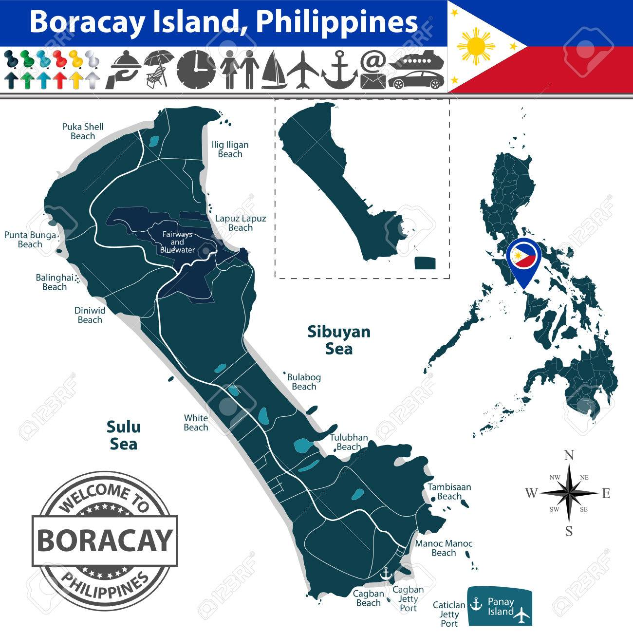 Boracay island, Philippines. Map contains beaches, roads and..
