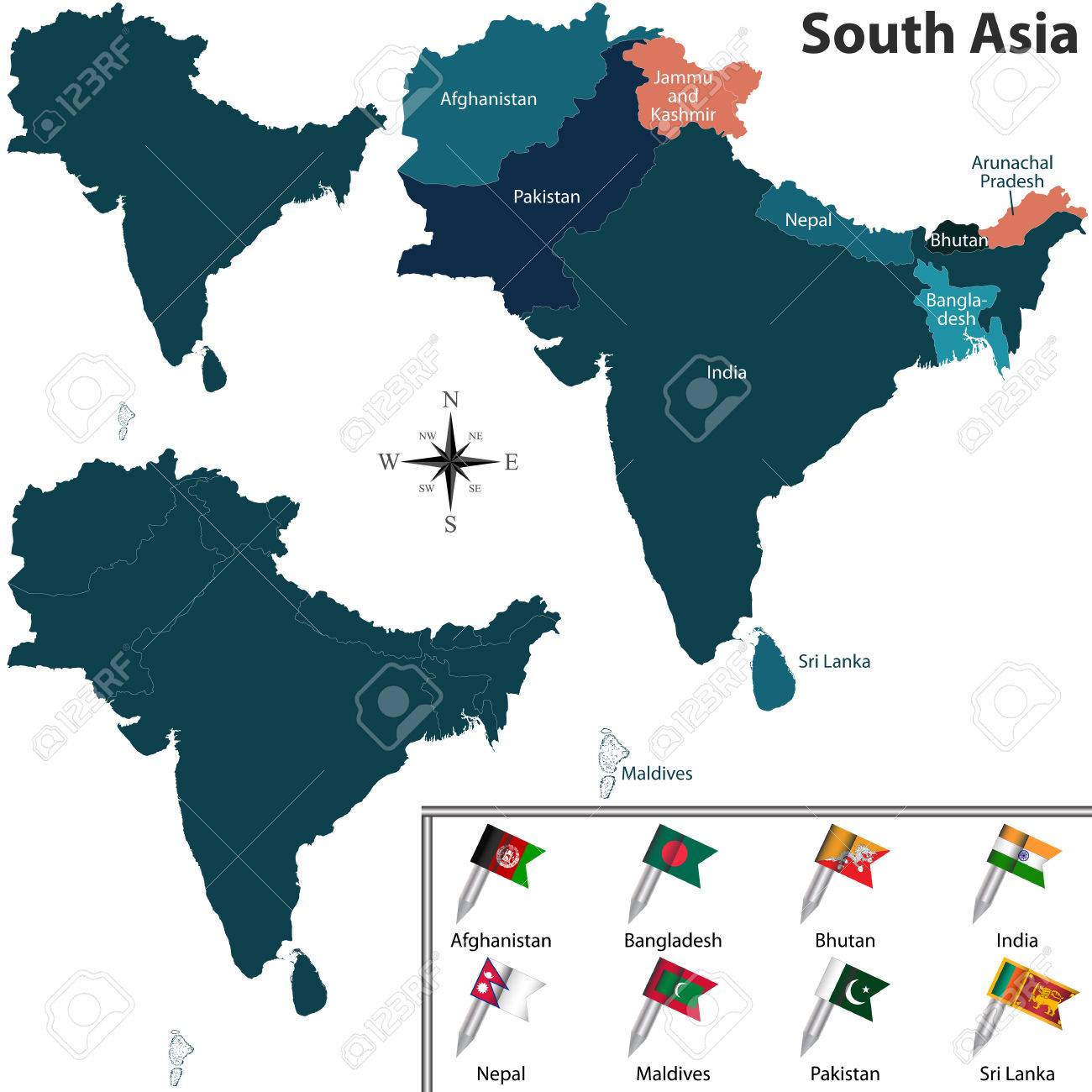 Political Map Of South Asia Set With Flags On White Background - South asia political map