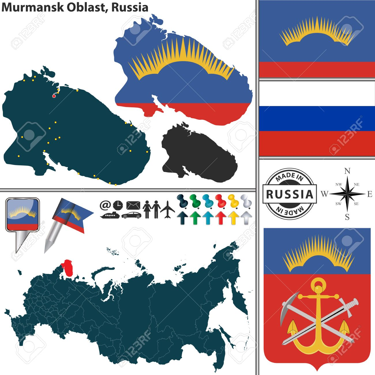 Map Of Murmansk Oblast With Coat Of Arms And Location On Russian