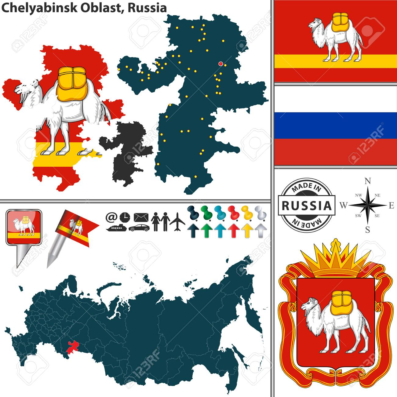 Map Of Chelyabinsk Oblast With Coat Of Arms And Location On Russian
