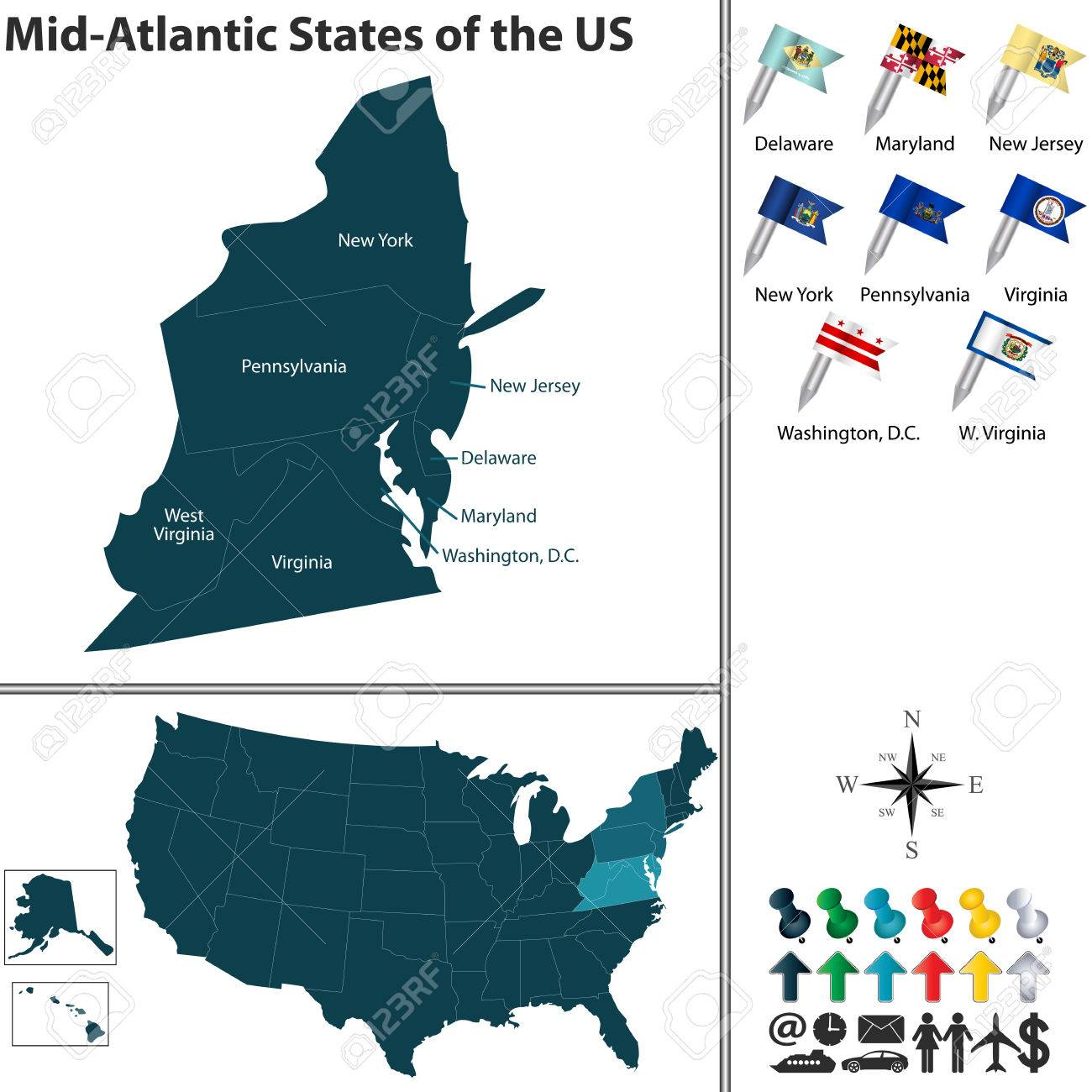 Set Of Mid Atlantic States Of The United States With Flags And