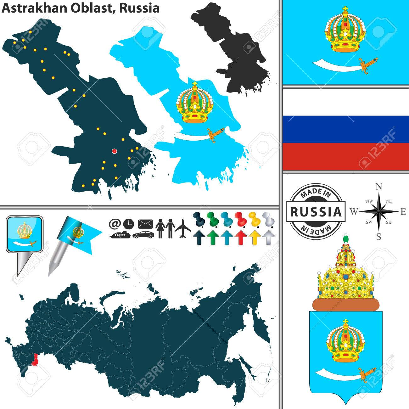 Vector Map Of Astrakhan Oblast With Coat Of Arms And Location