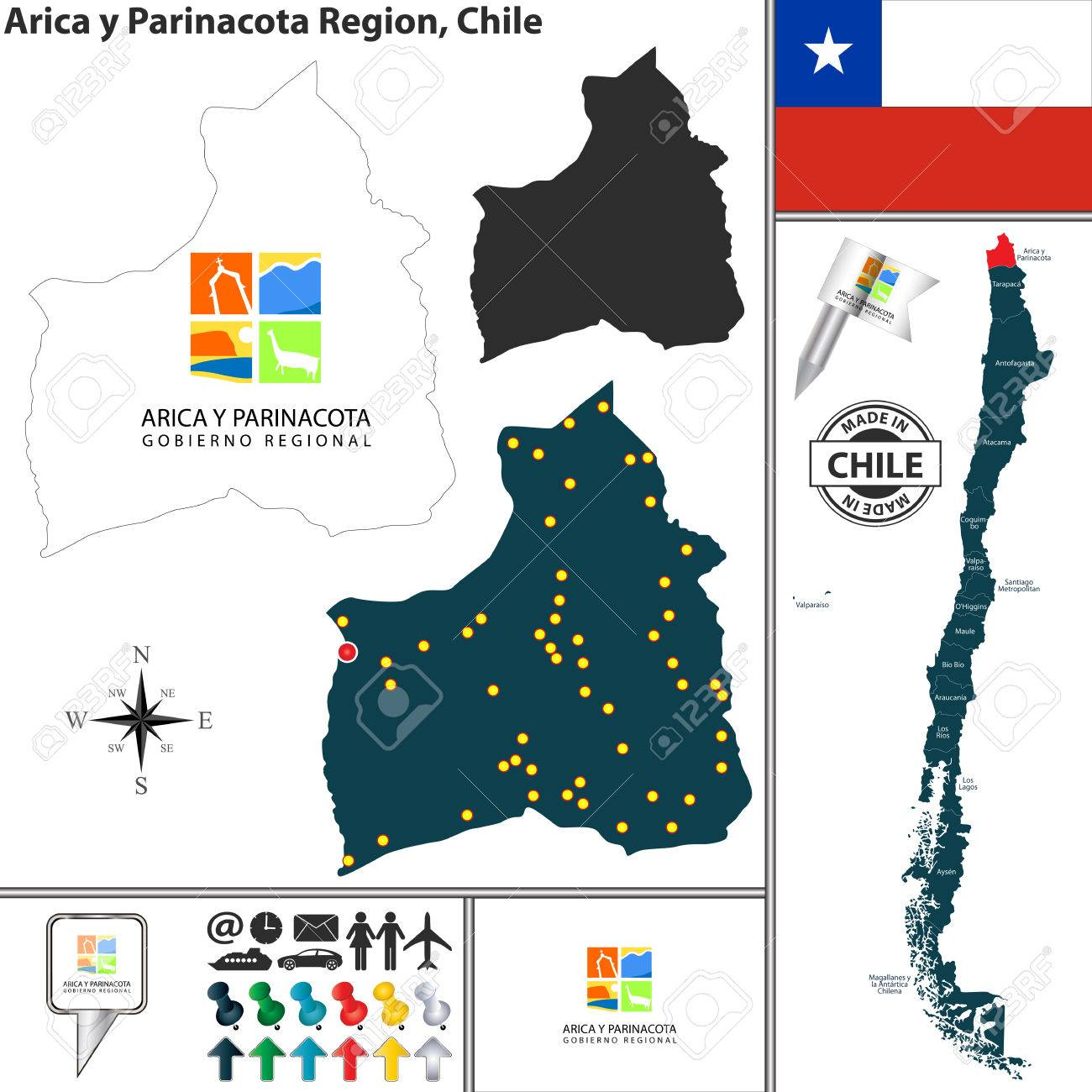 Vector Map Of Arica Y Parinacota Region And Location On Chilean - Chile location
