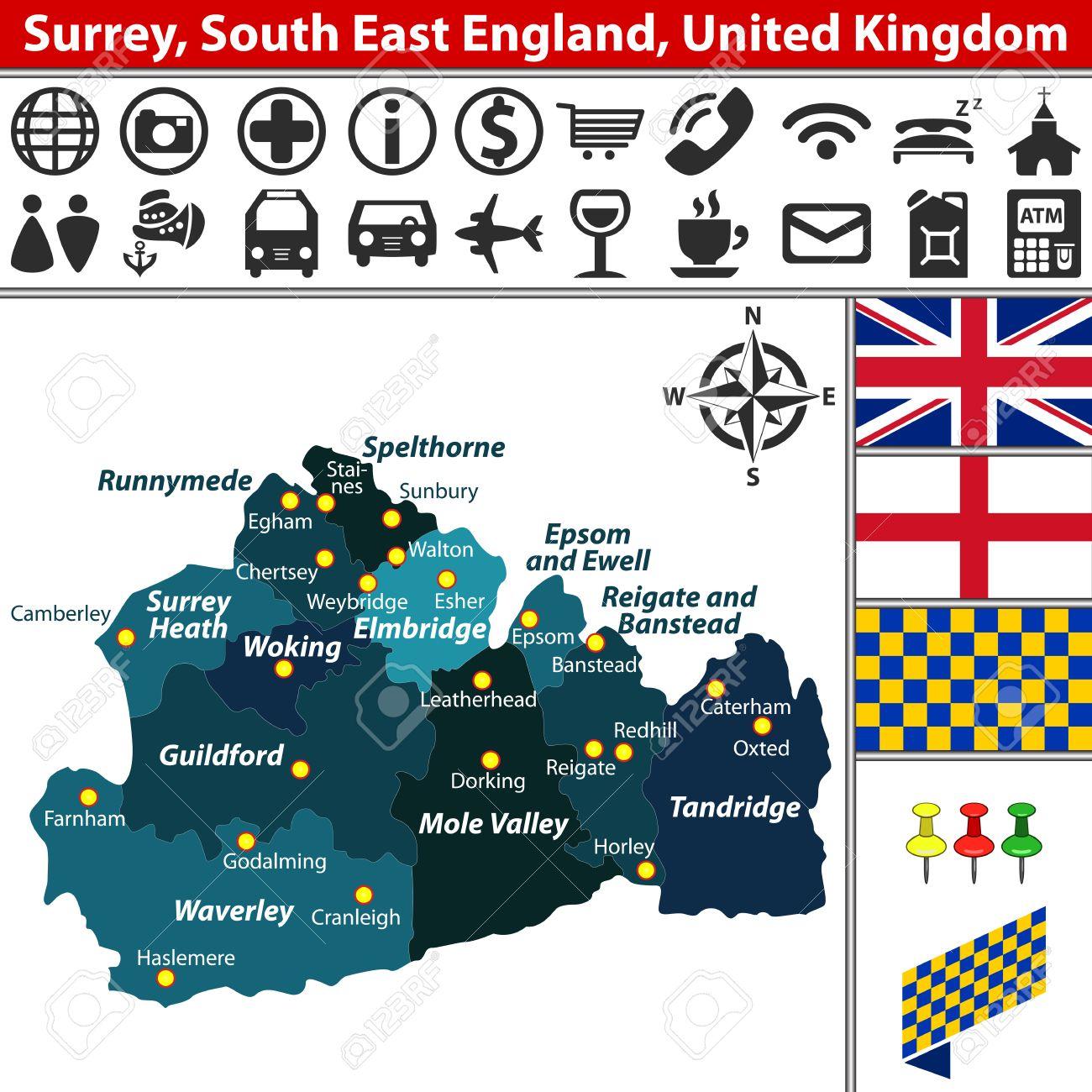 Vector Kaart Van Surrey Zuidoost Engeland Groot Brittannie Met