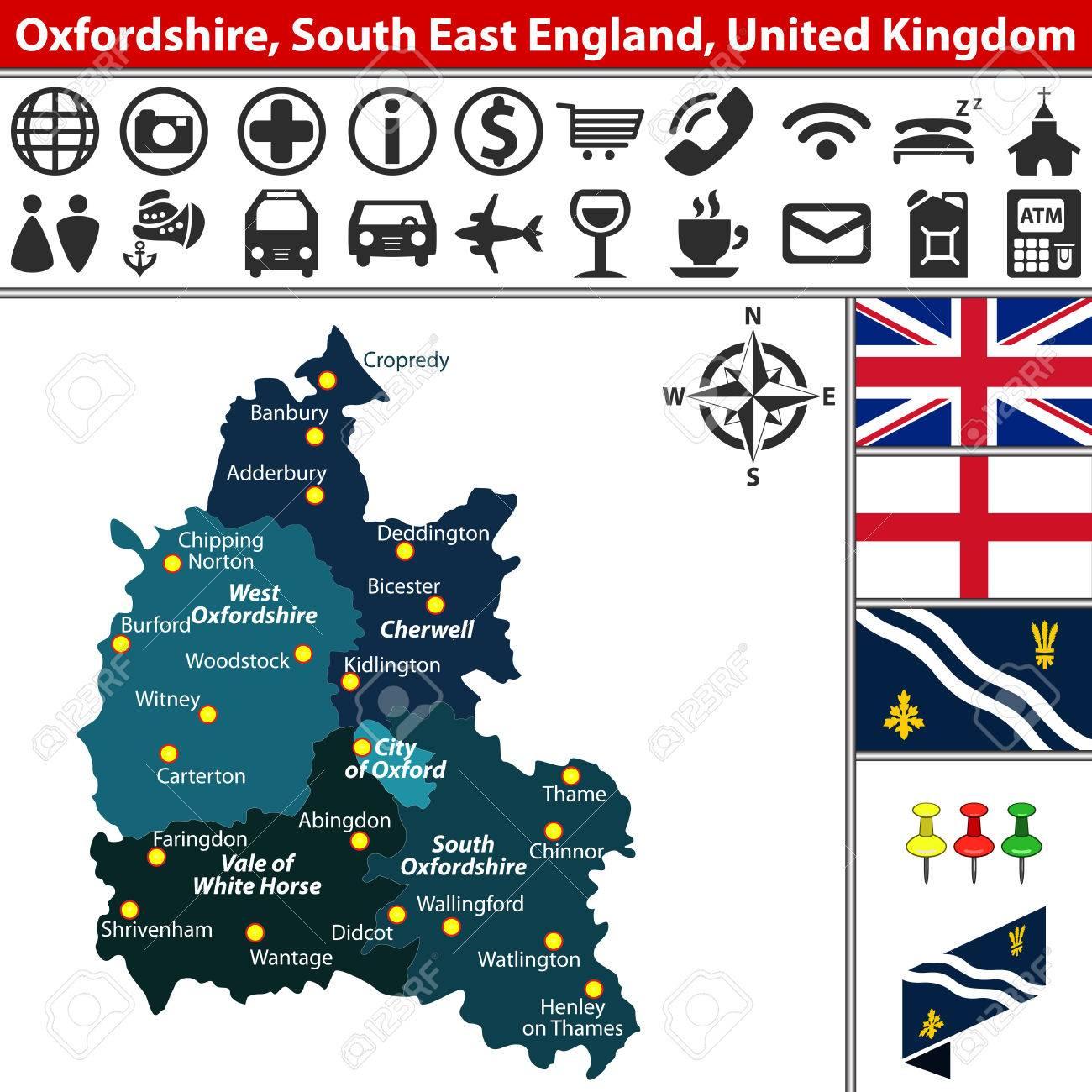 Vector Kaart Van Oxfordshire Zuidoost Engeland Groot Brittannie