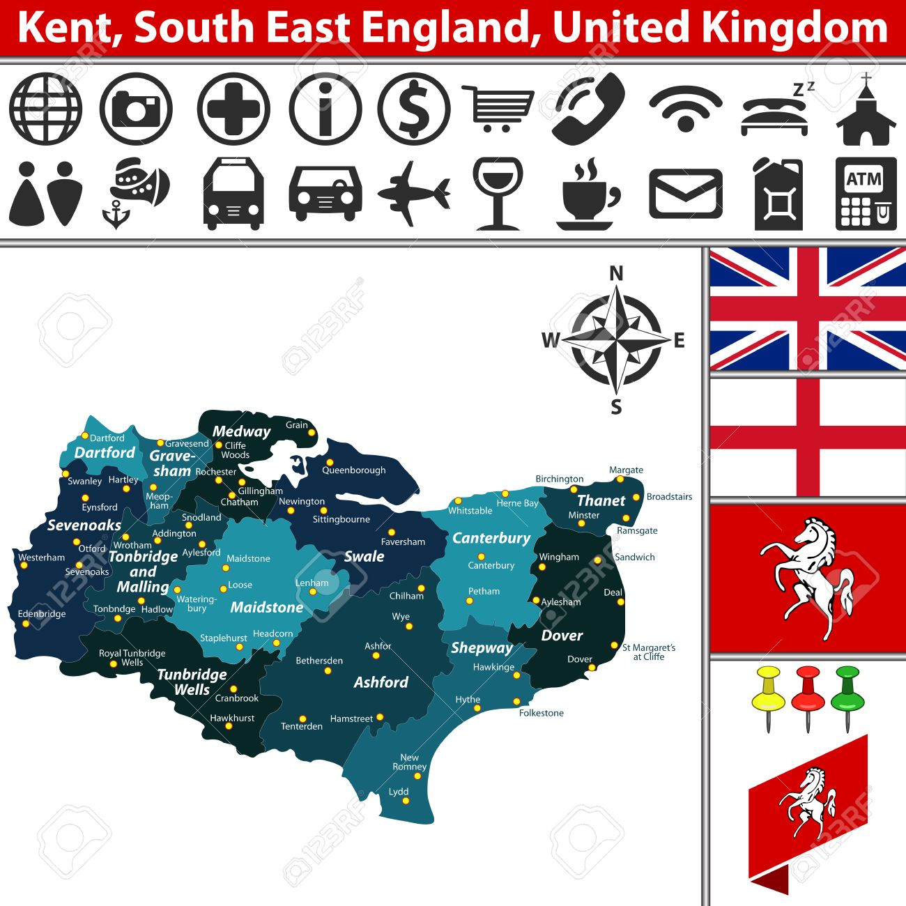 Vector Kaart Van Kent Zuidoost Engeland Groot Brittannie Met De