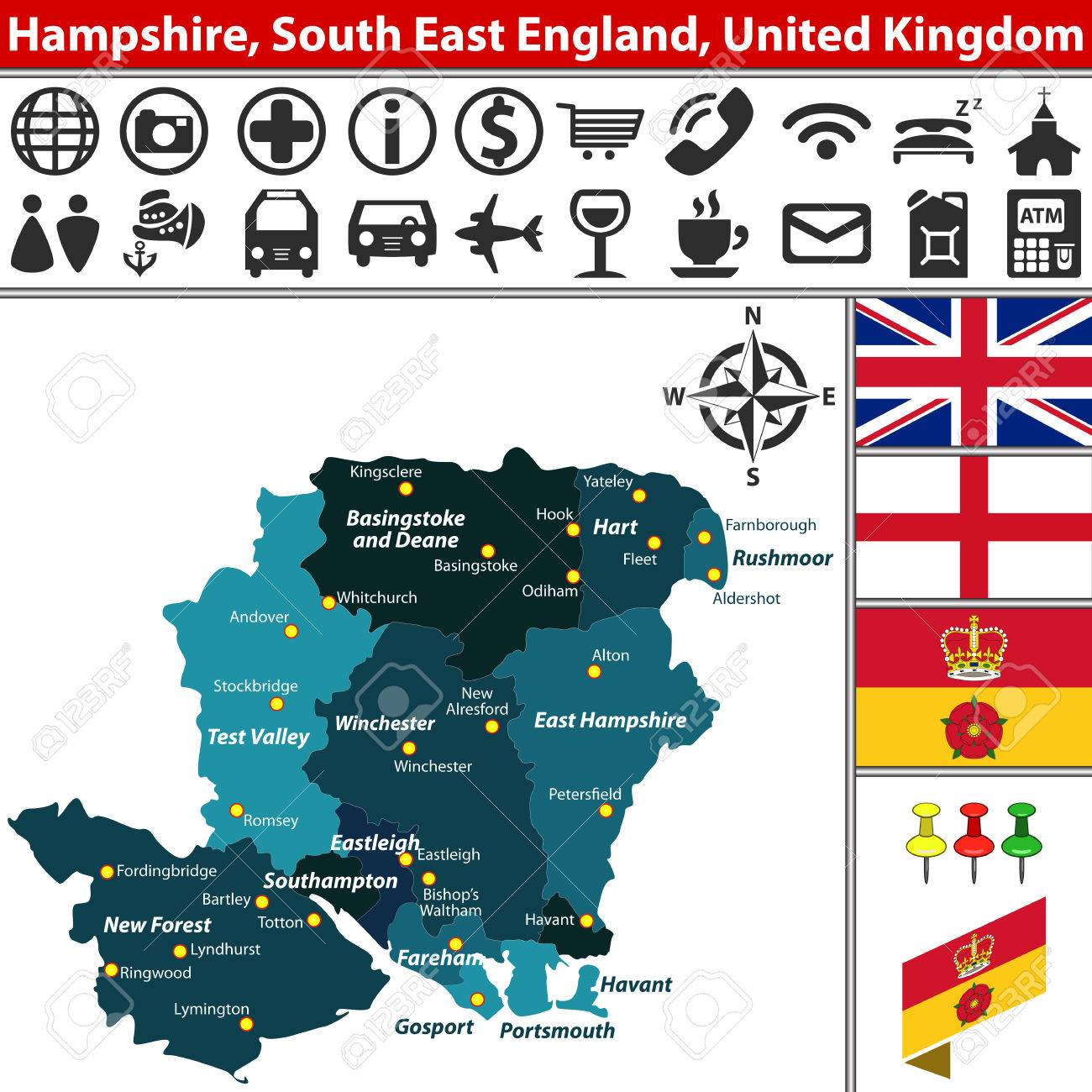 Map Of South East England.Vector Map Of Hampshire South East England United Kingdom With