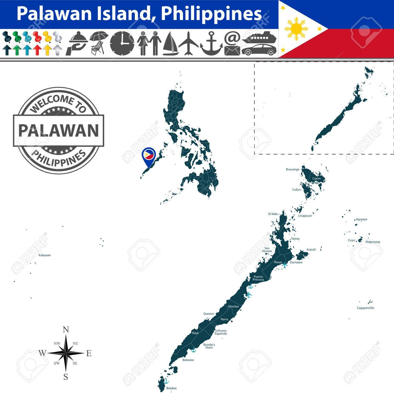 Of Palawan Island Philippines Map Contains Regions And Travel