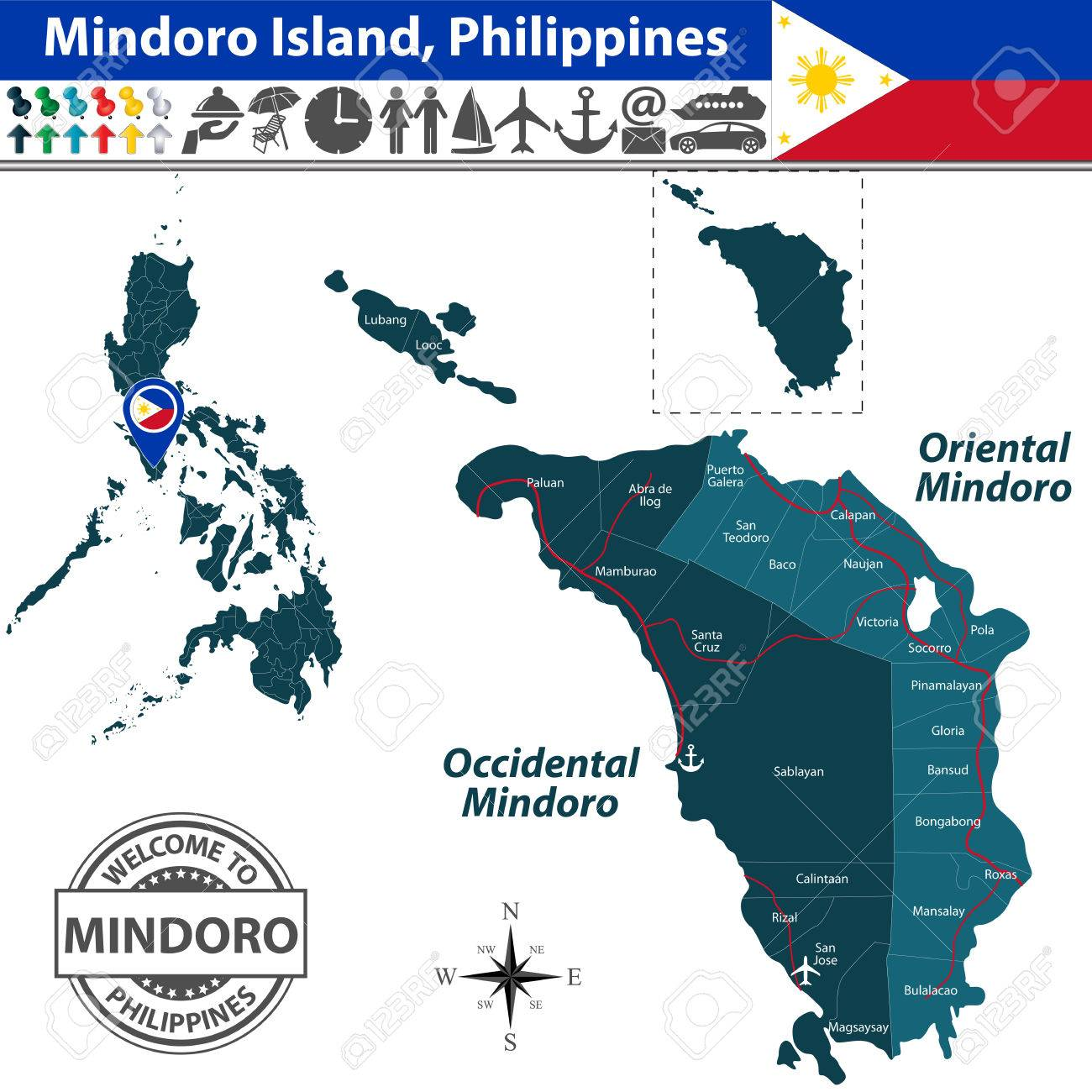 Mindoro Island Philippines Map Contains Provinces Oriental