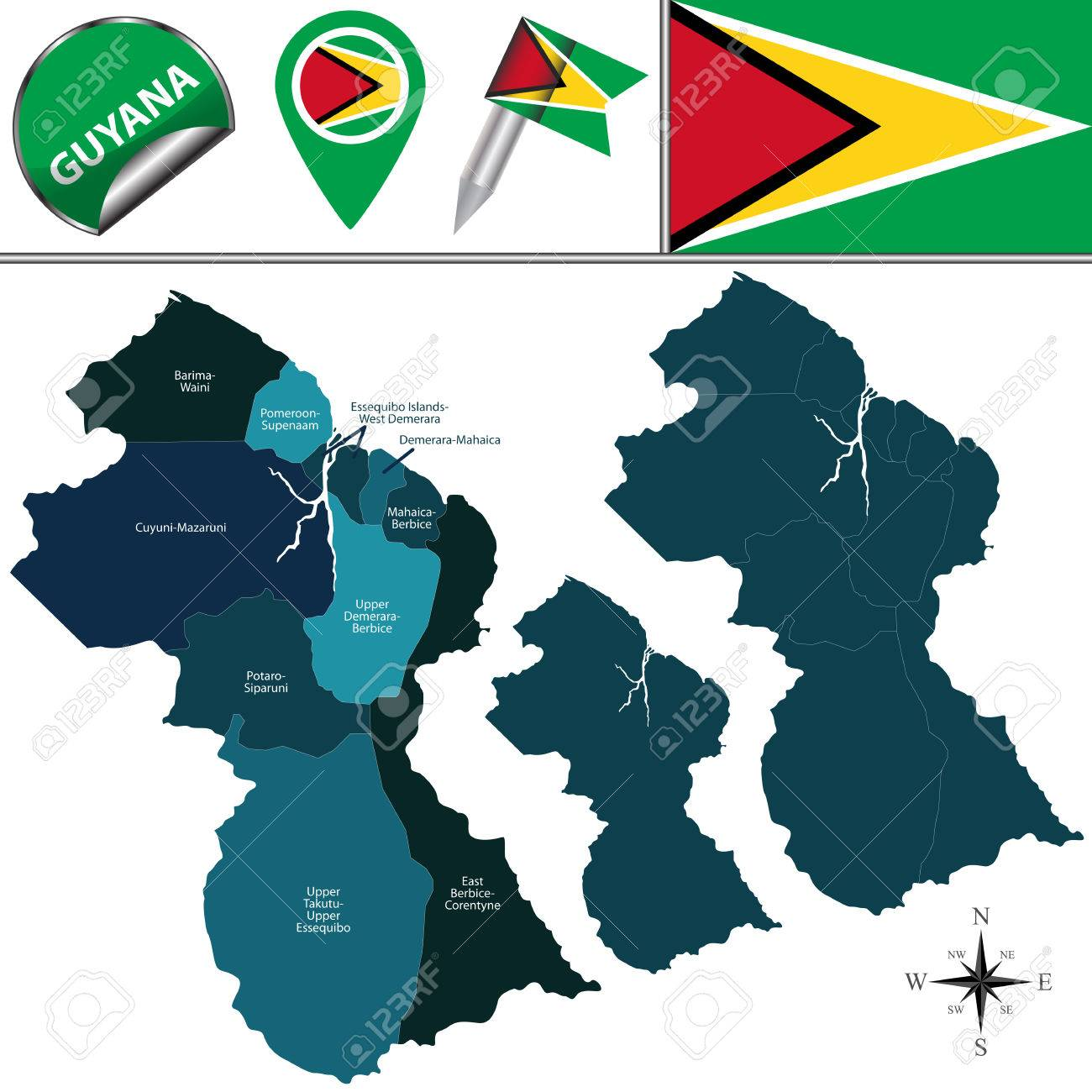 Map Of Guyana With Named Regions And Travel Icons Royalty Free