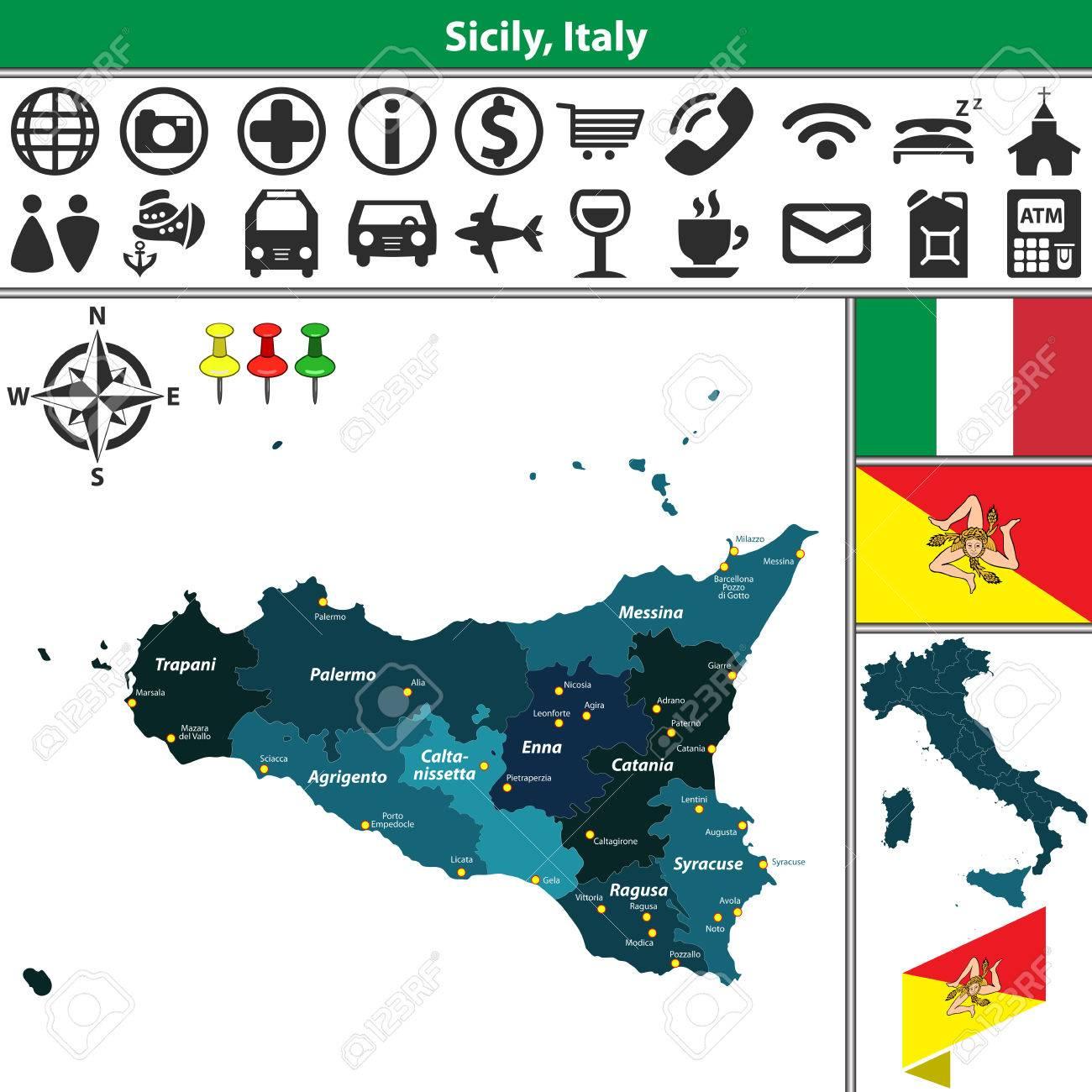 Mapa De Sicilia Italia.Mapa Del Vector De La Region De Sicilia Con Las Regiones Y La Ubicacion En El Mapa De Italia