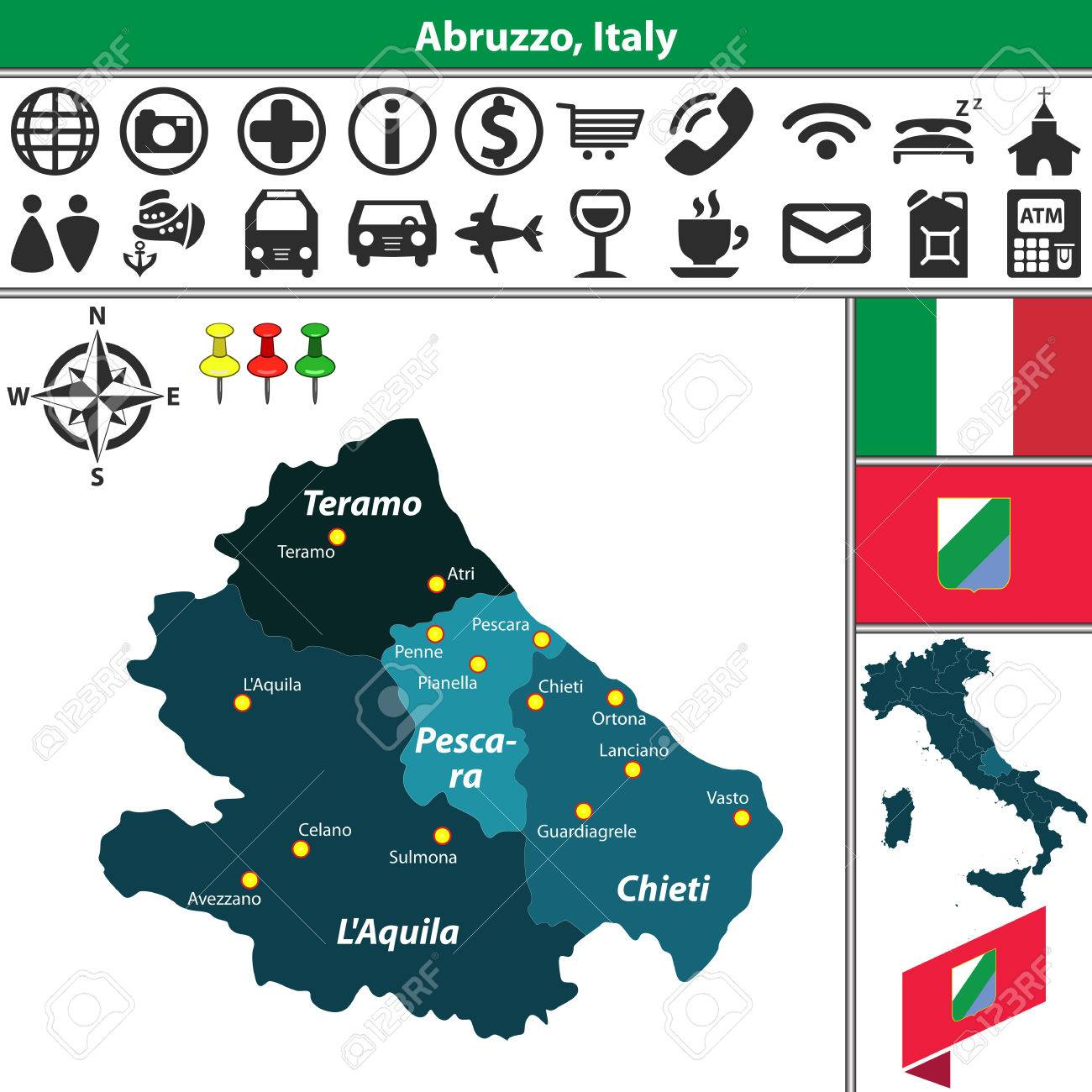 Map Of Italy Abruzzo Region.Vector Map Of Abruzzo With Regions And Location On Italy Map Royalty