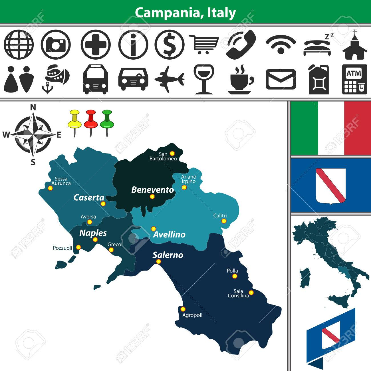 Calitri Italy Map.Vector Map Of Campania With Regions And Location On Italy Map