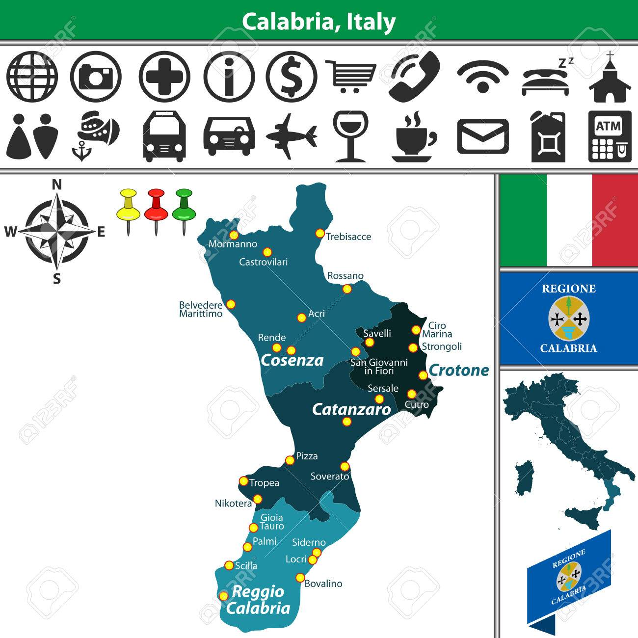 Vector Map Of Calabria With Regions And Location On Italy Map ...