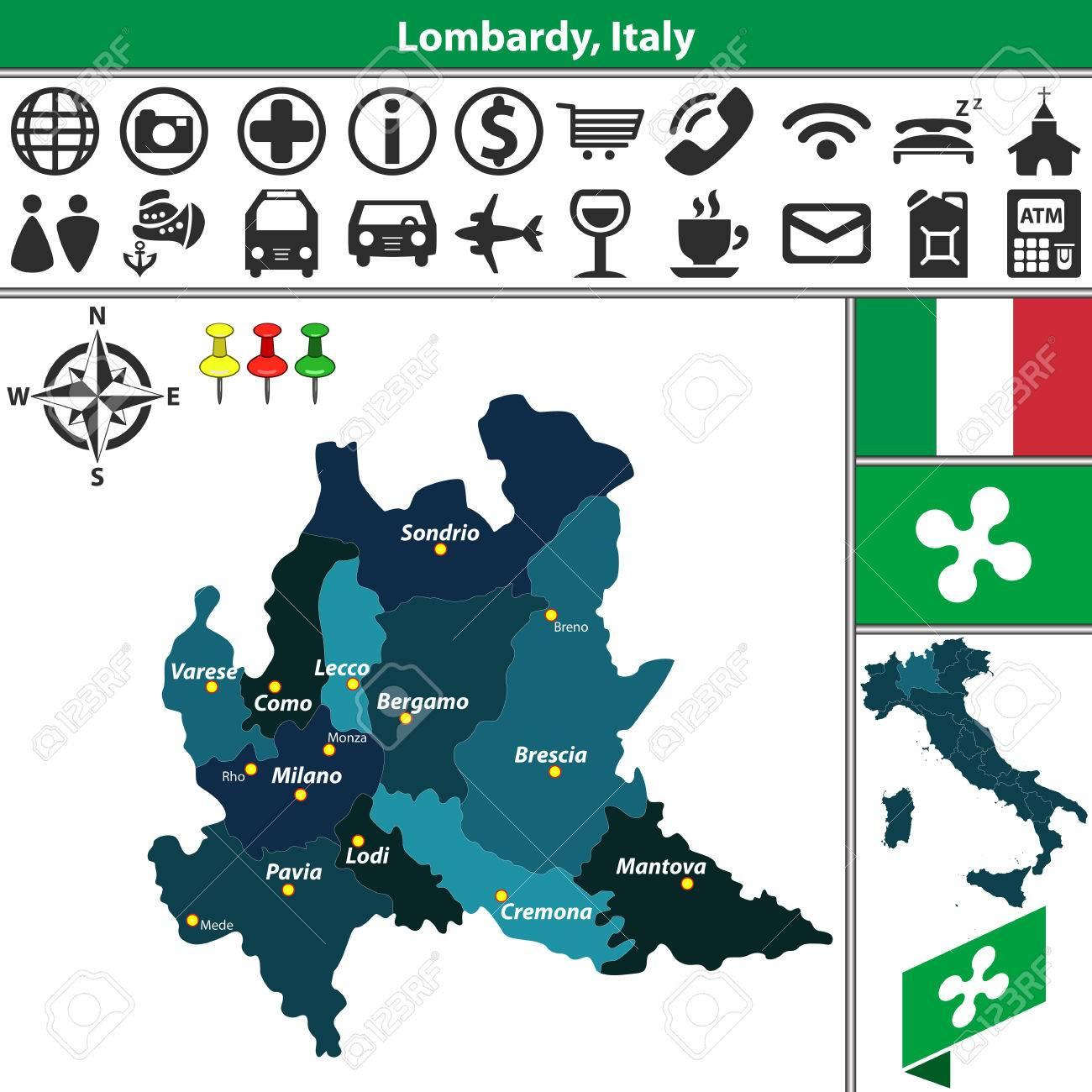 Carte Italie Lombardie.Carte De Vecteur De Lombardie Avec Les Regions Et L Emplacement Sur La Carte De L Italie