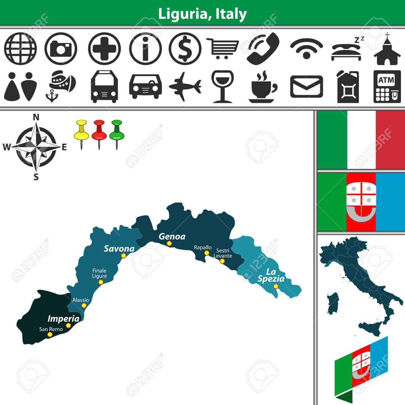 Vector Map Of Liguria With Regions And Location On Italy Map Royalty
