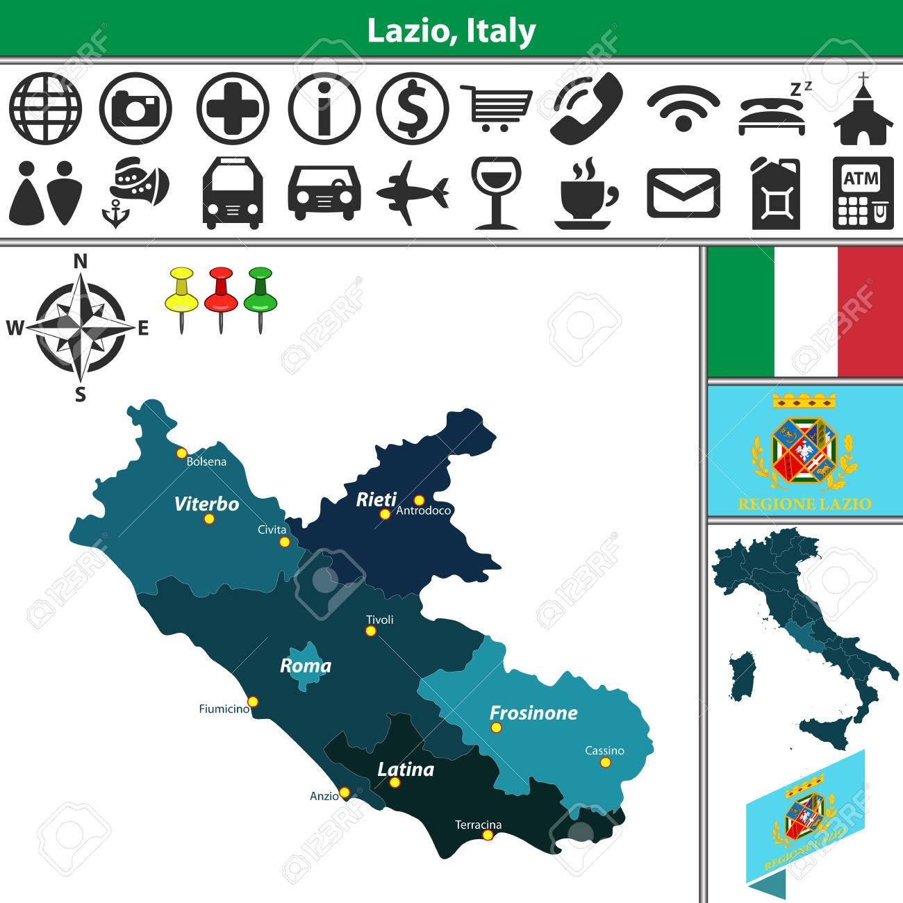 Vector Map Of Lazio With Regions And Location On Italy Map Royalty