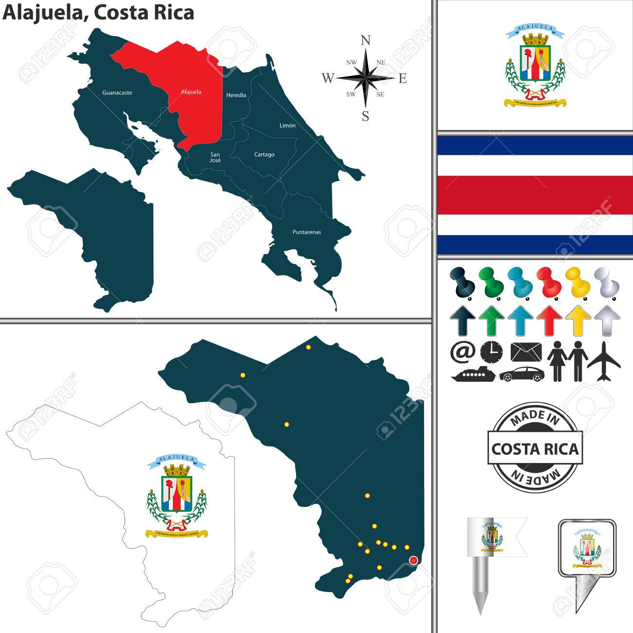 Vector Map Of Province Alajuela With Flag And Location On Costa ...