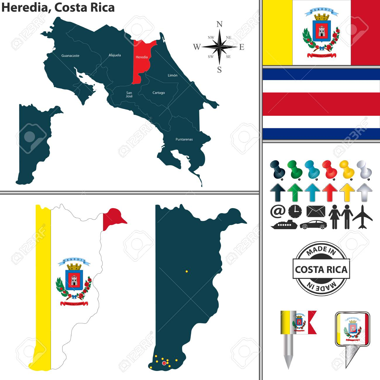 Vector Map Of Province Heredia With Flag And Location On Costa ...