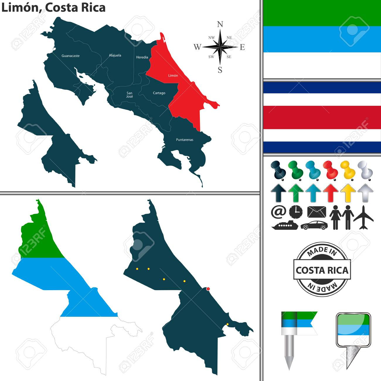 Vector Map Of Province Limon With Flag And Location On Costa ...