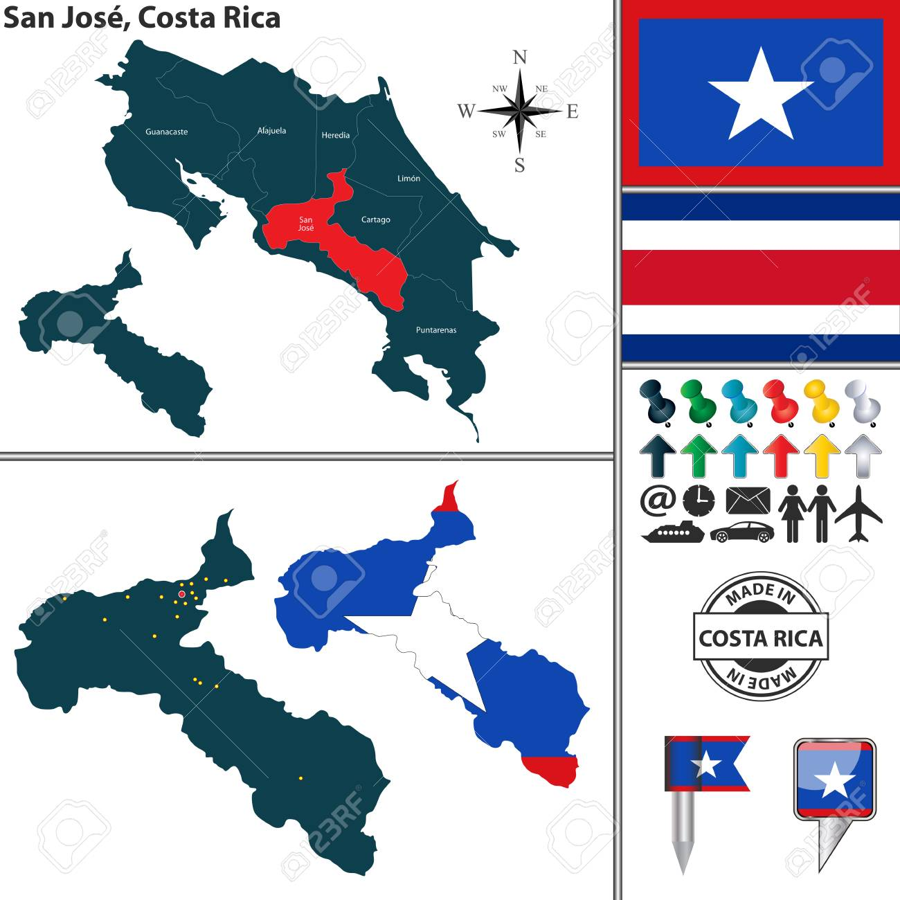 Vector Map Of Province San Jose With Flag And Location On Costa ...