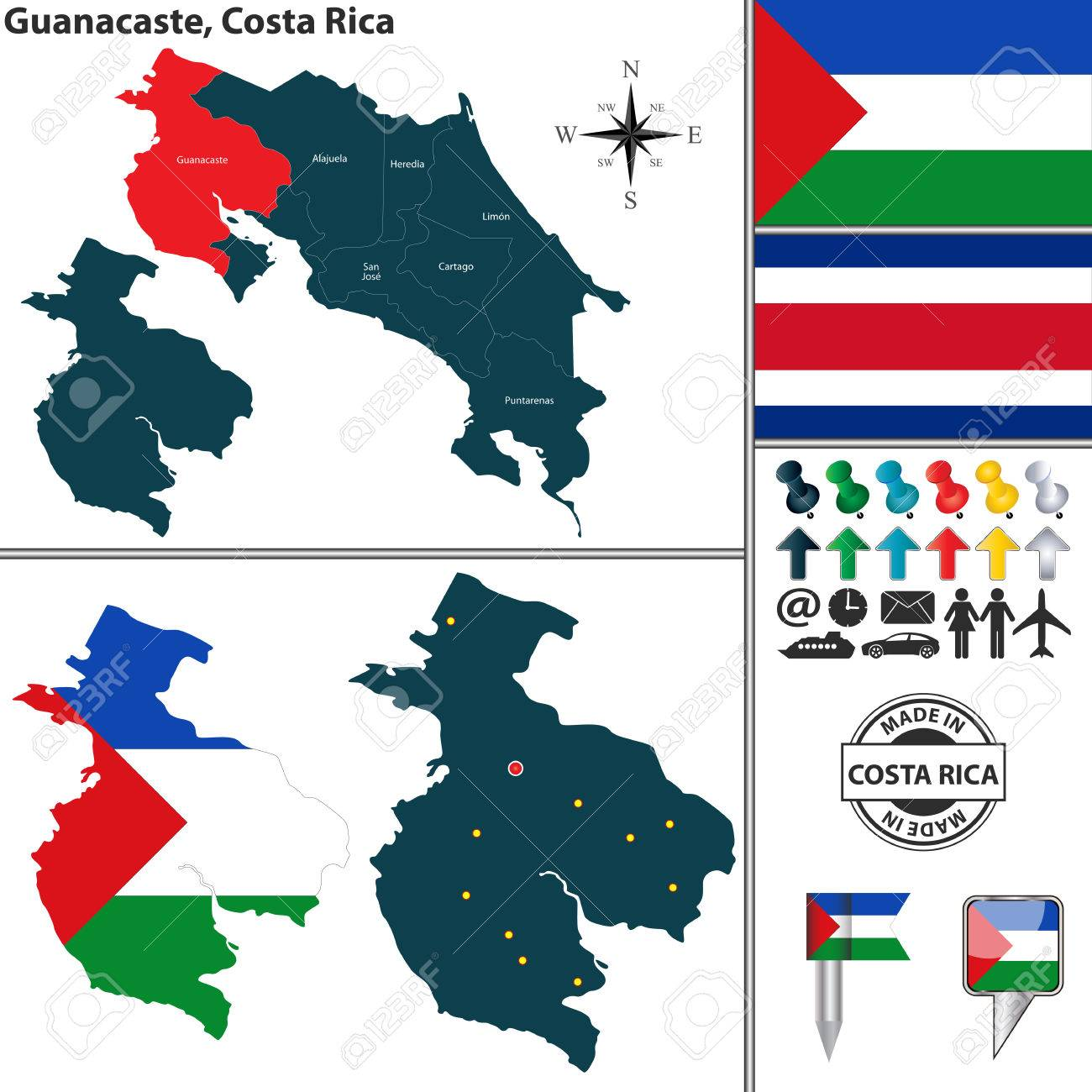 Vector Map Of Province Guanacaste With Flag And Location On Costa ...
