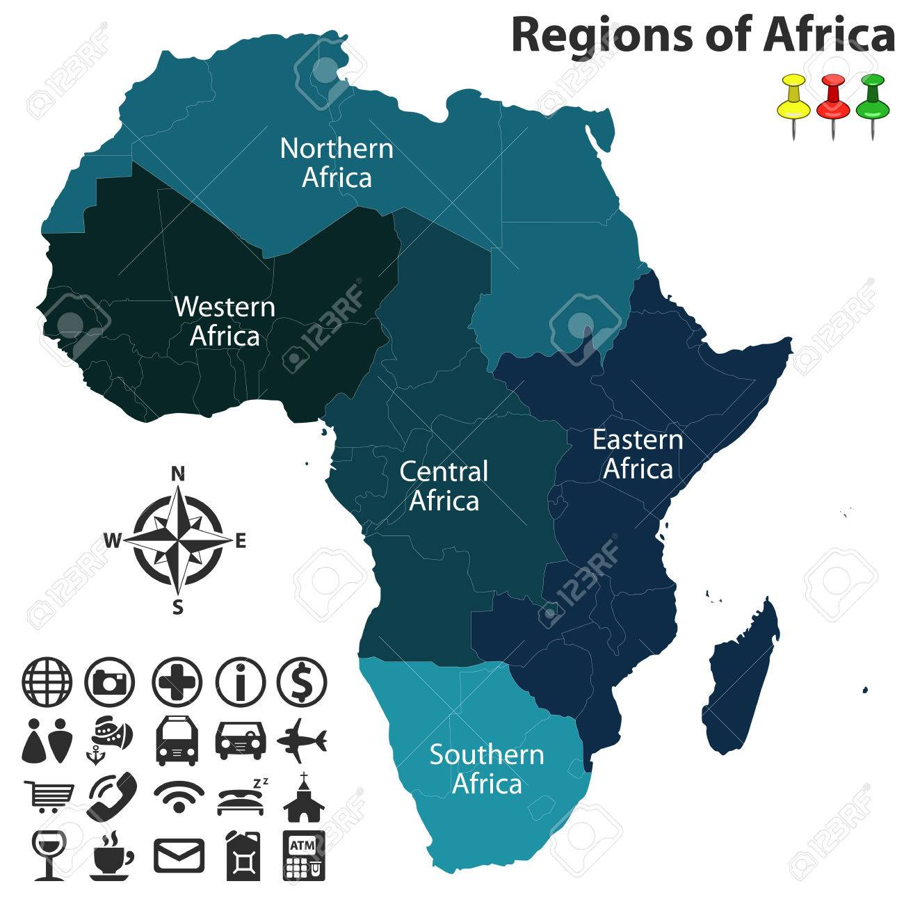 Map Of Africa Regions.Map Of Regions Of Africa With Icons