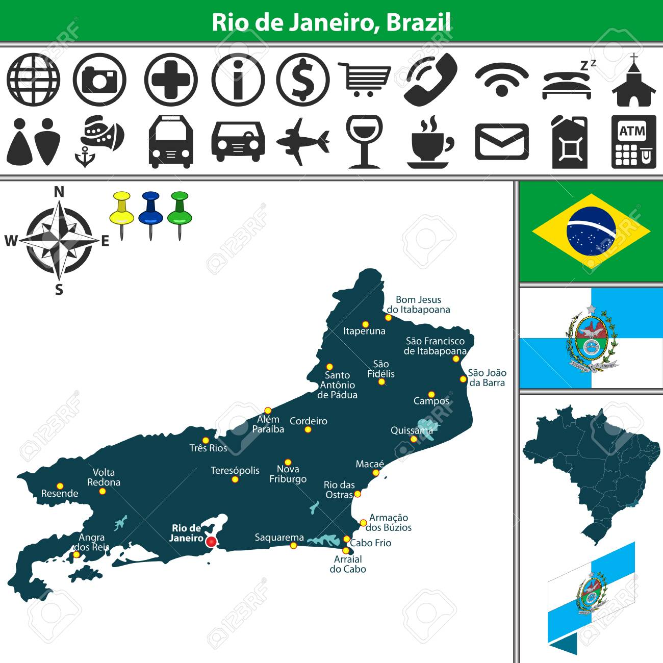 Vector Map Of Region Of Rio De Janeiro With Flags And Location