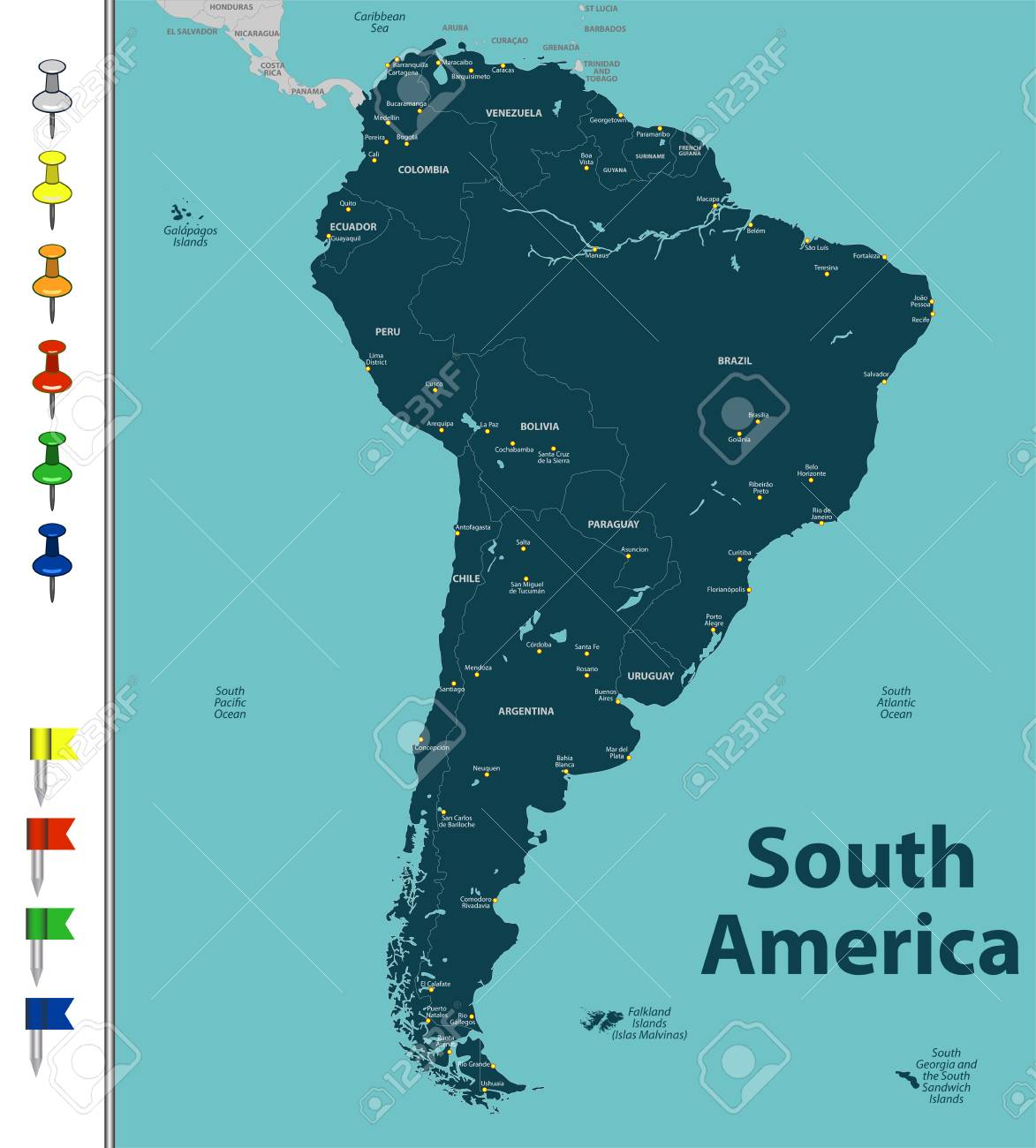 Vector Map Of South America With Countries Big Cities And Icons