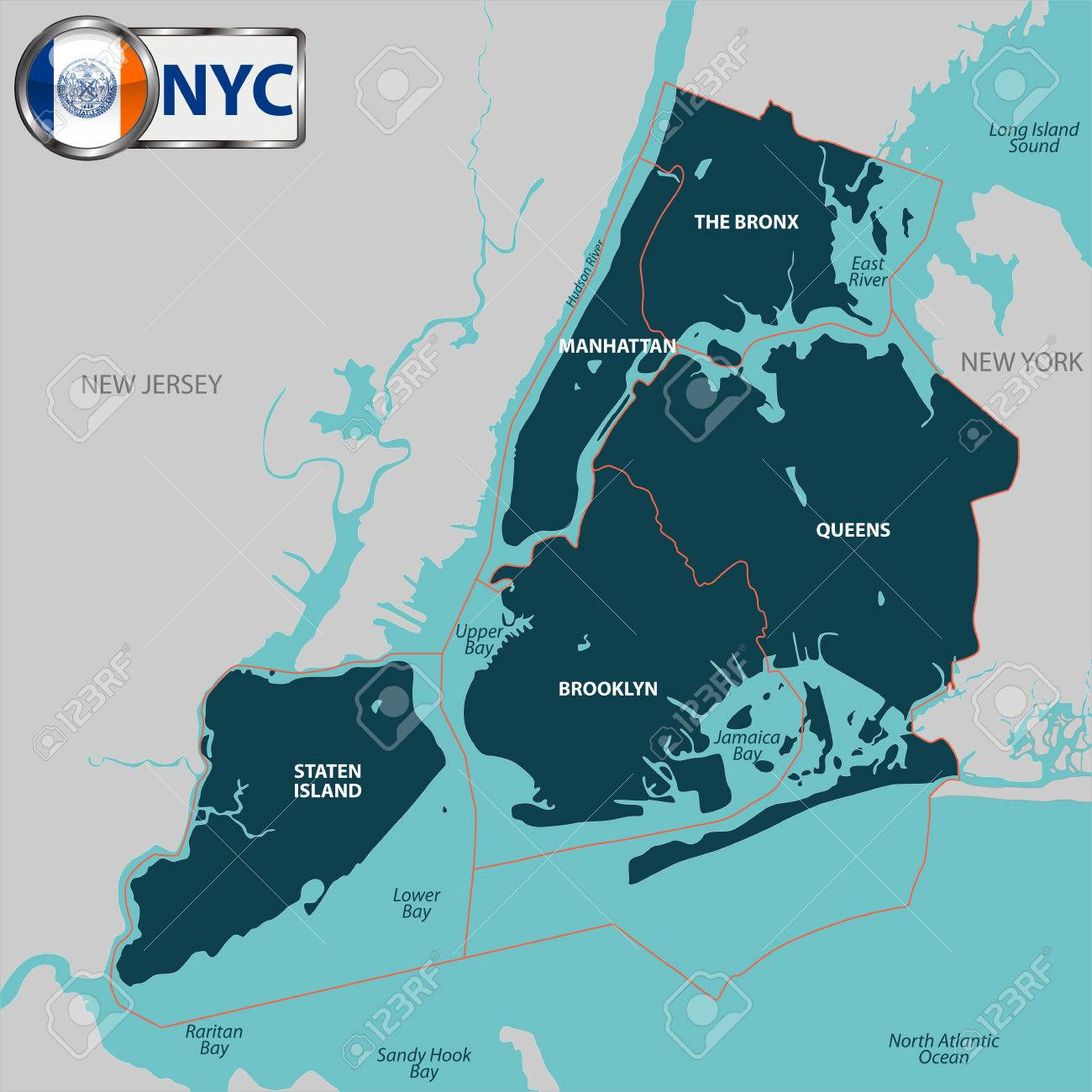 Free Map Of New York City.Vector Map Of Boroughs Of New York City