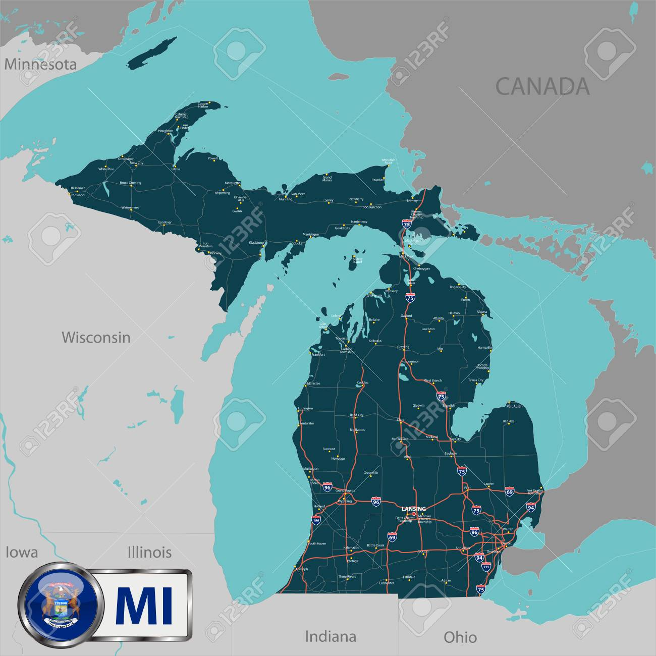 Vector Set Of Michigan State With Roads Map Cities And Neighboring