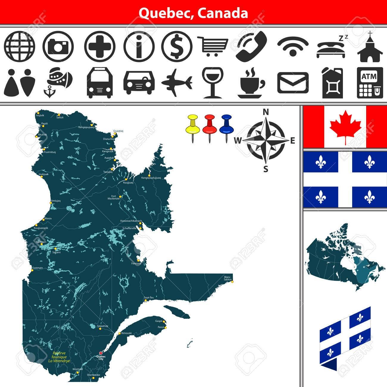 Carte Canada Avec Ville.Carte Vectorielle Des Regions Du Quebec Canada Avec Des Lacs Des